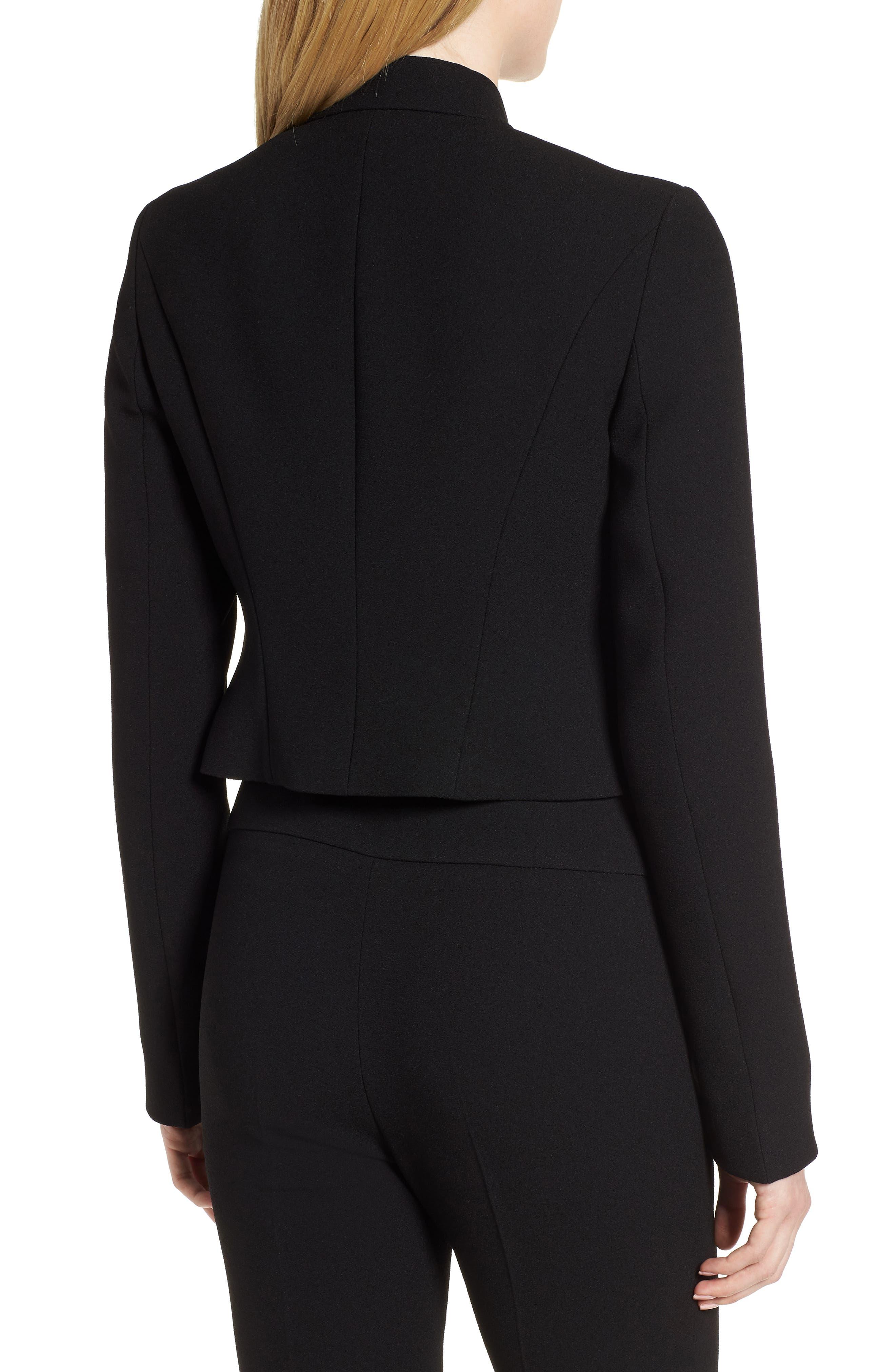 Jisala Compact Crepe Crop Jacket,                             Alternate thumbnail 2, color,                             Black