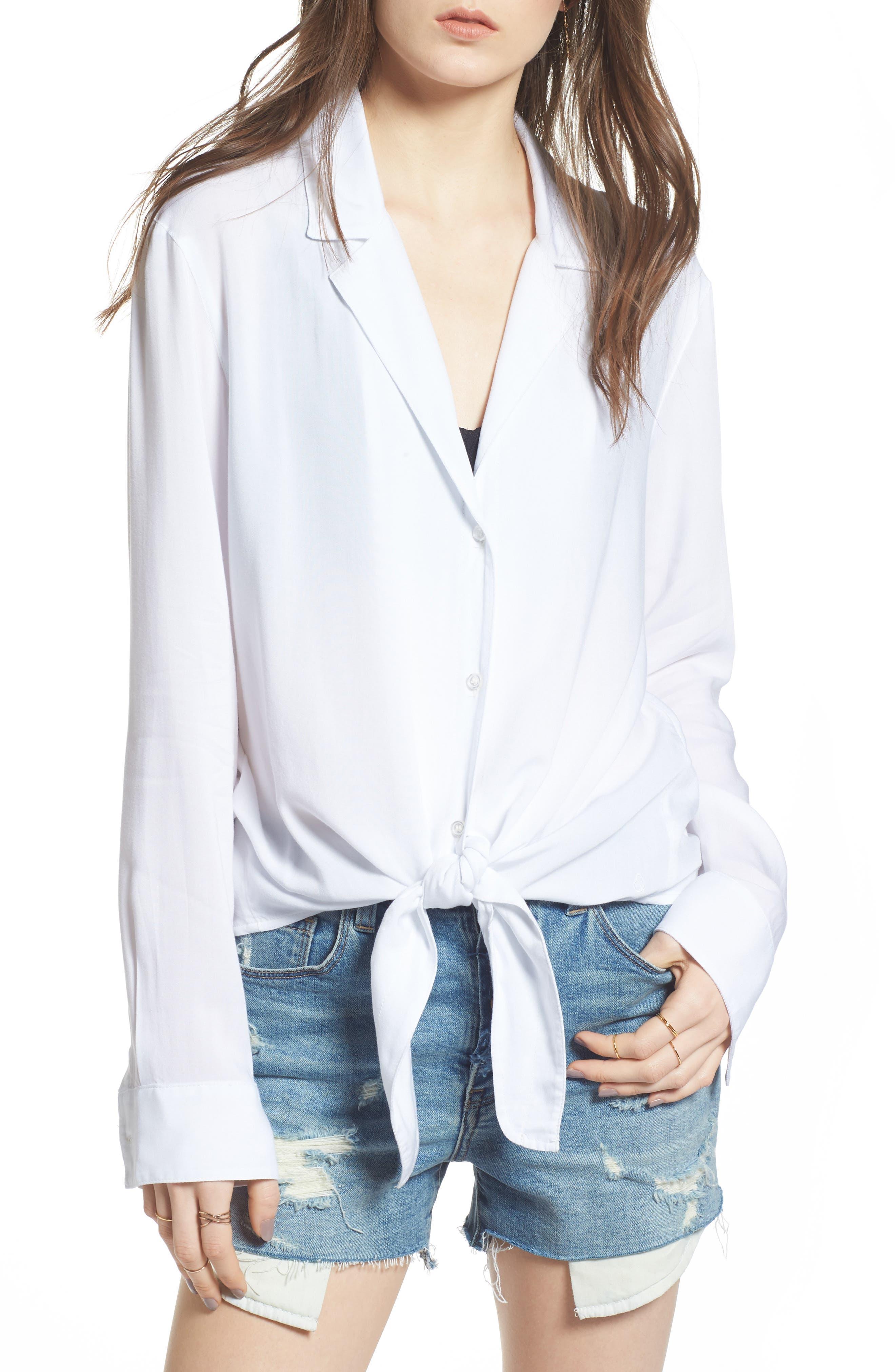 Tie Front Shirt,                         Main,                         color, White