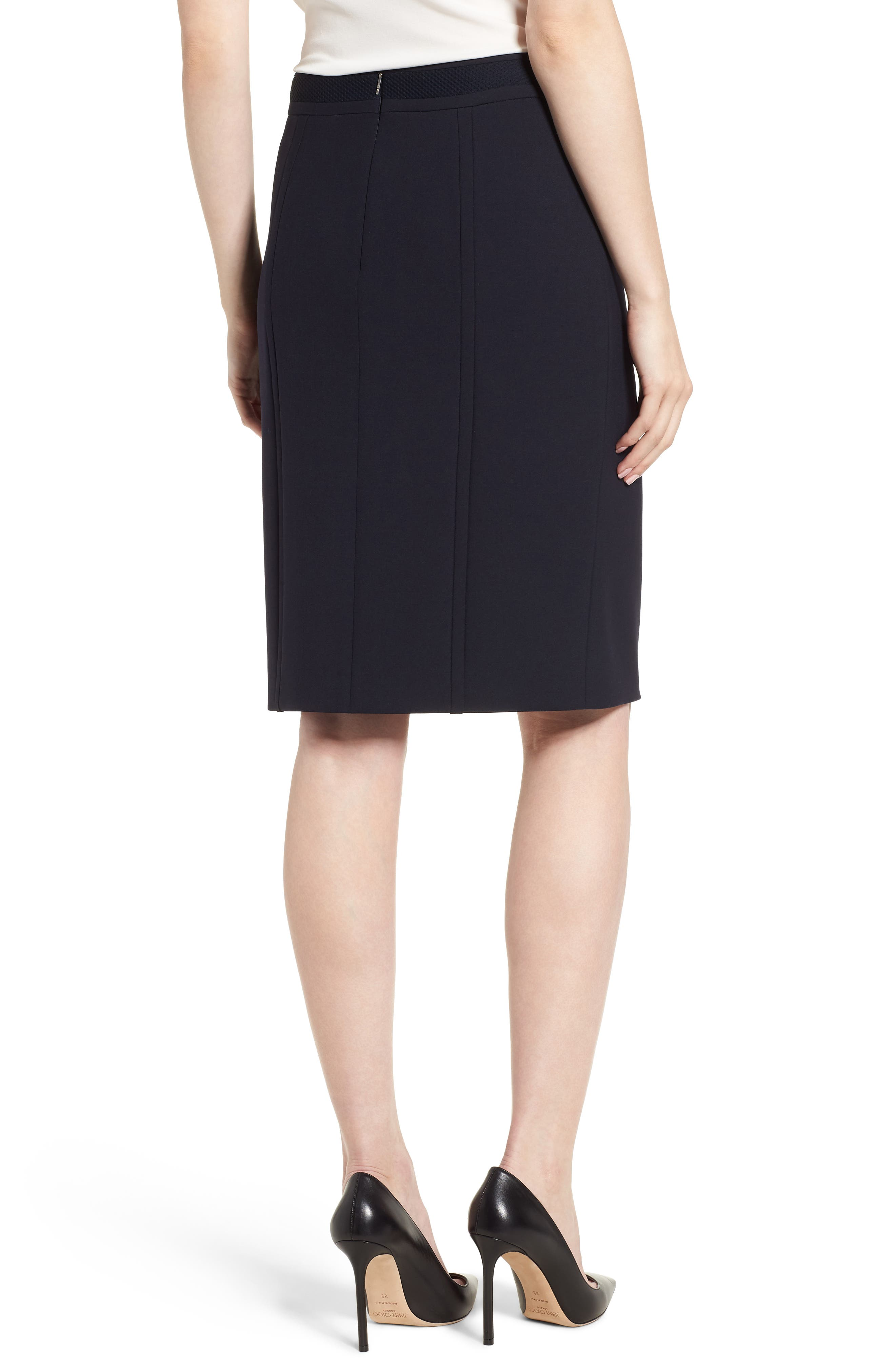 Vadama Ponte Pencil Skirt,                             Alternate thumbnail 2, color,                             Navy