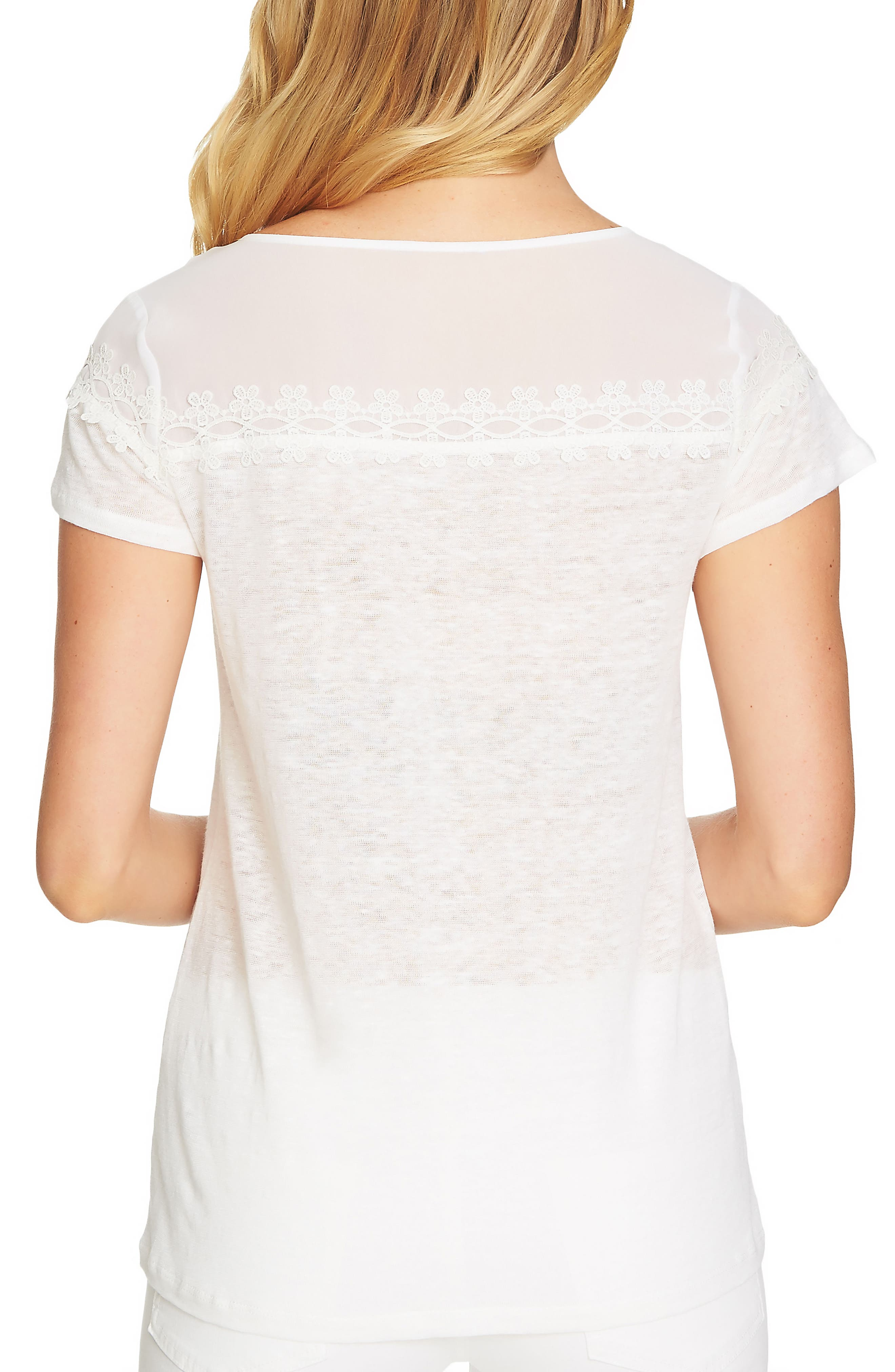 Linen and Lace Short Sleeve Top,                             Alternate thumbnail 2, color,                             Ultra White