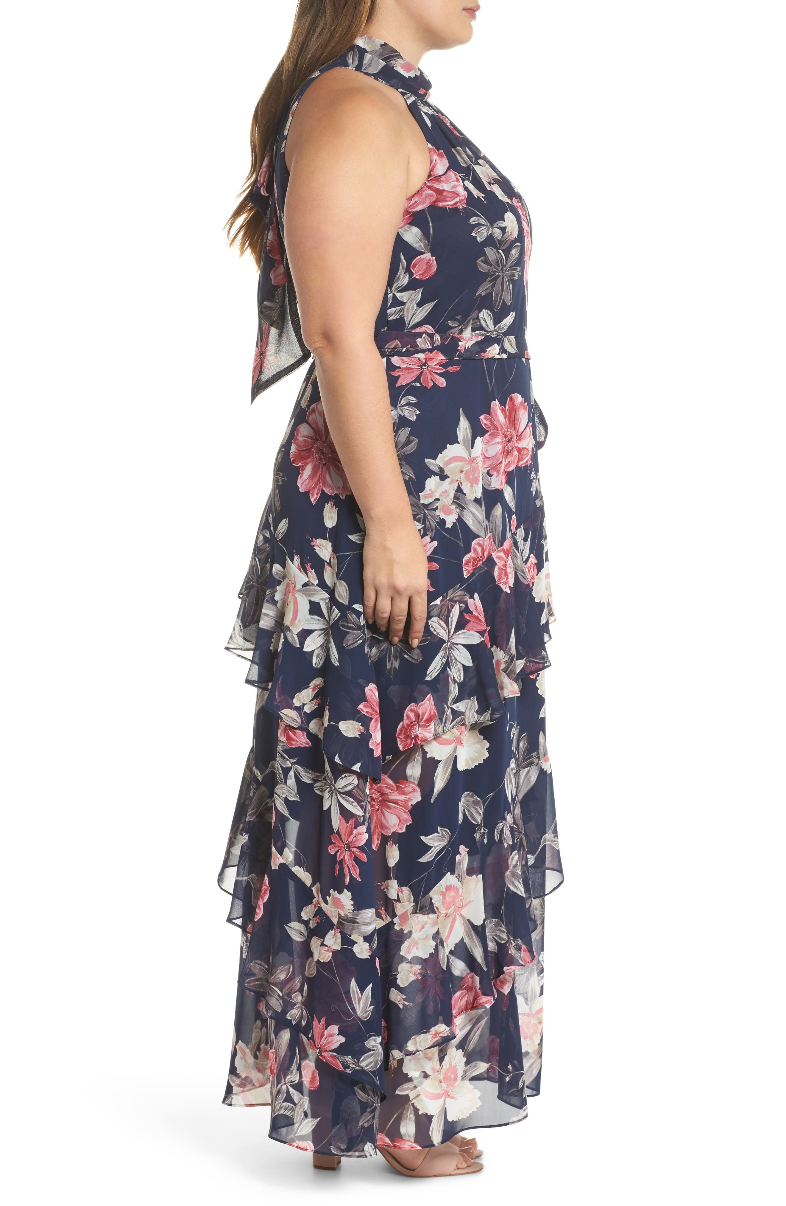 Halter Neck Chiffon Gown,                             Alternate thumbnail 3, color,                             Navy/ Pink