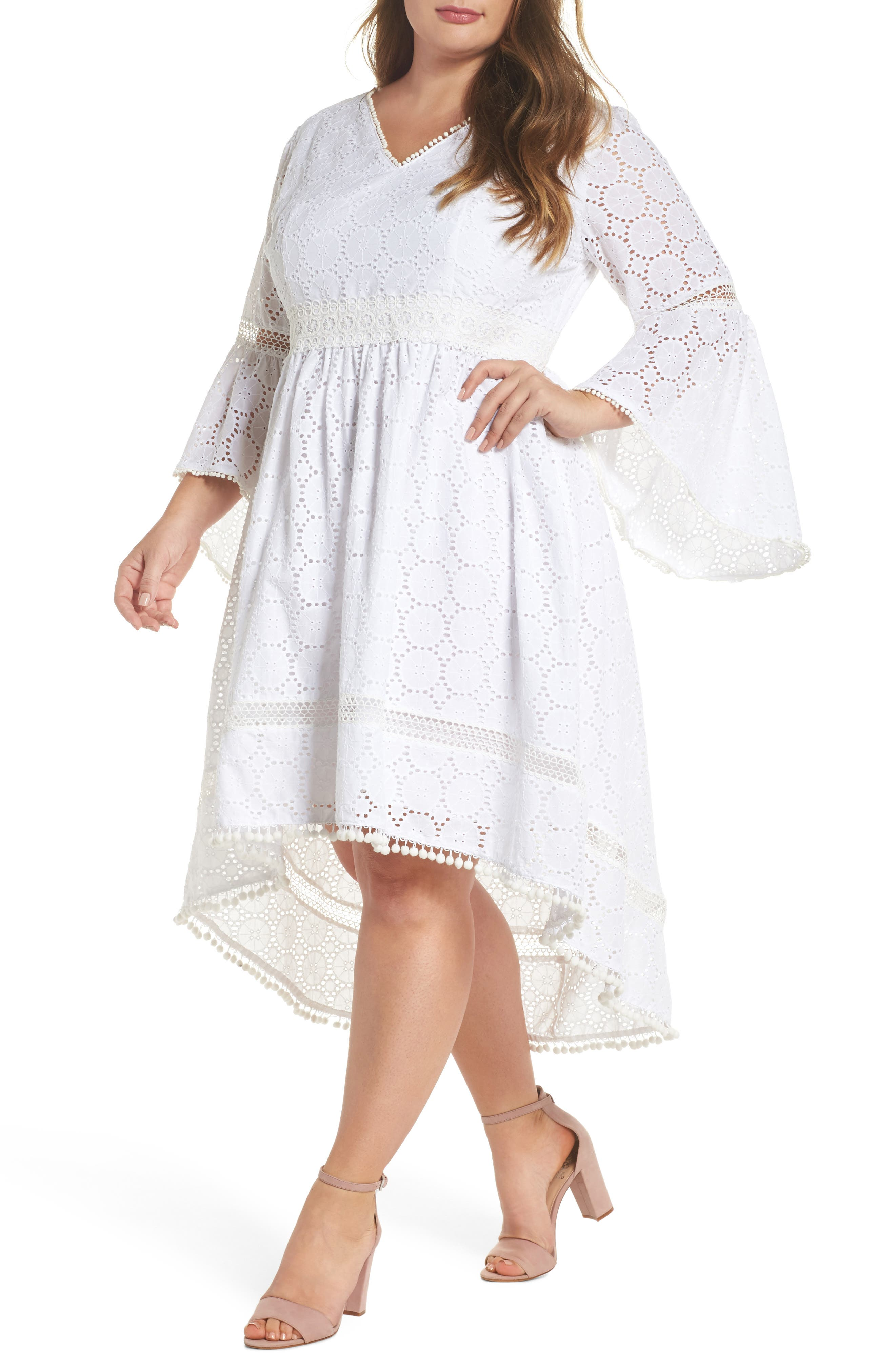 Bell Sleeve High/Low Eyelet Dress,                             Main thumbnail 1, color,                             Ivory