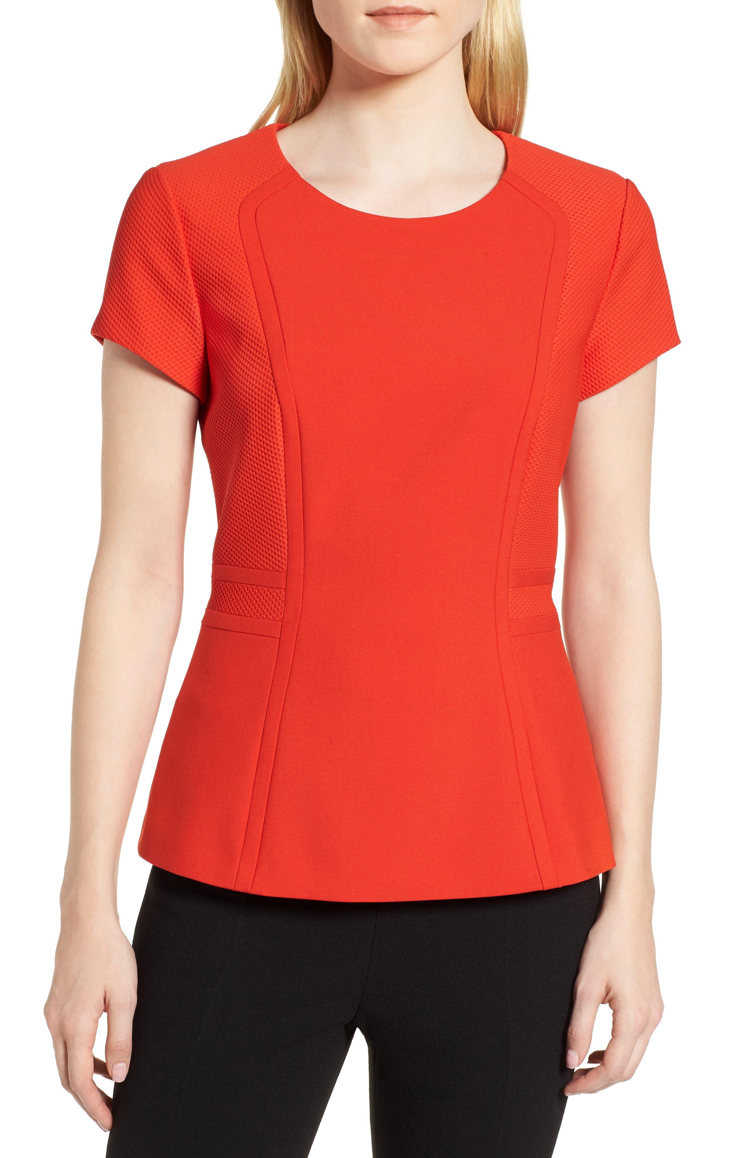 Idama Ponte Top,                         Main,                         color, Sunset Orange