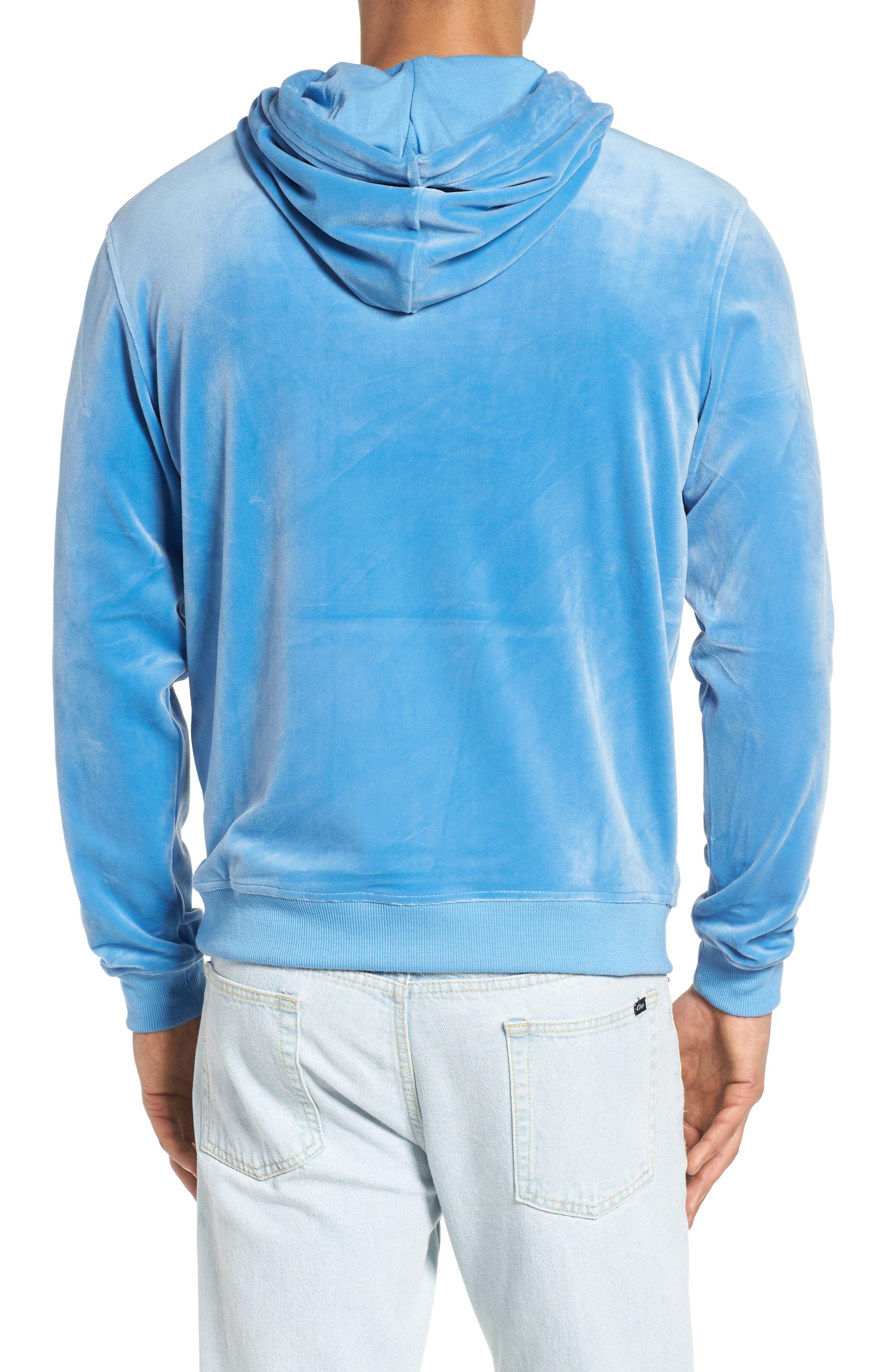 Asher Velour Hoodie Sweatshirt,                             Alternate thumbnail 2, color,                             Silver Lake Blue