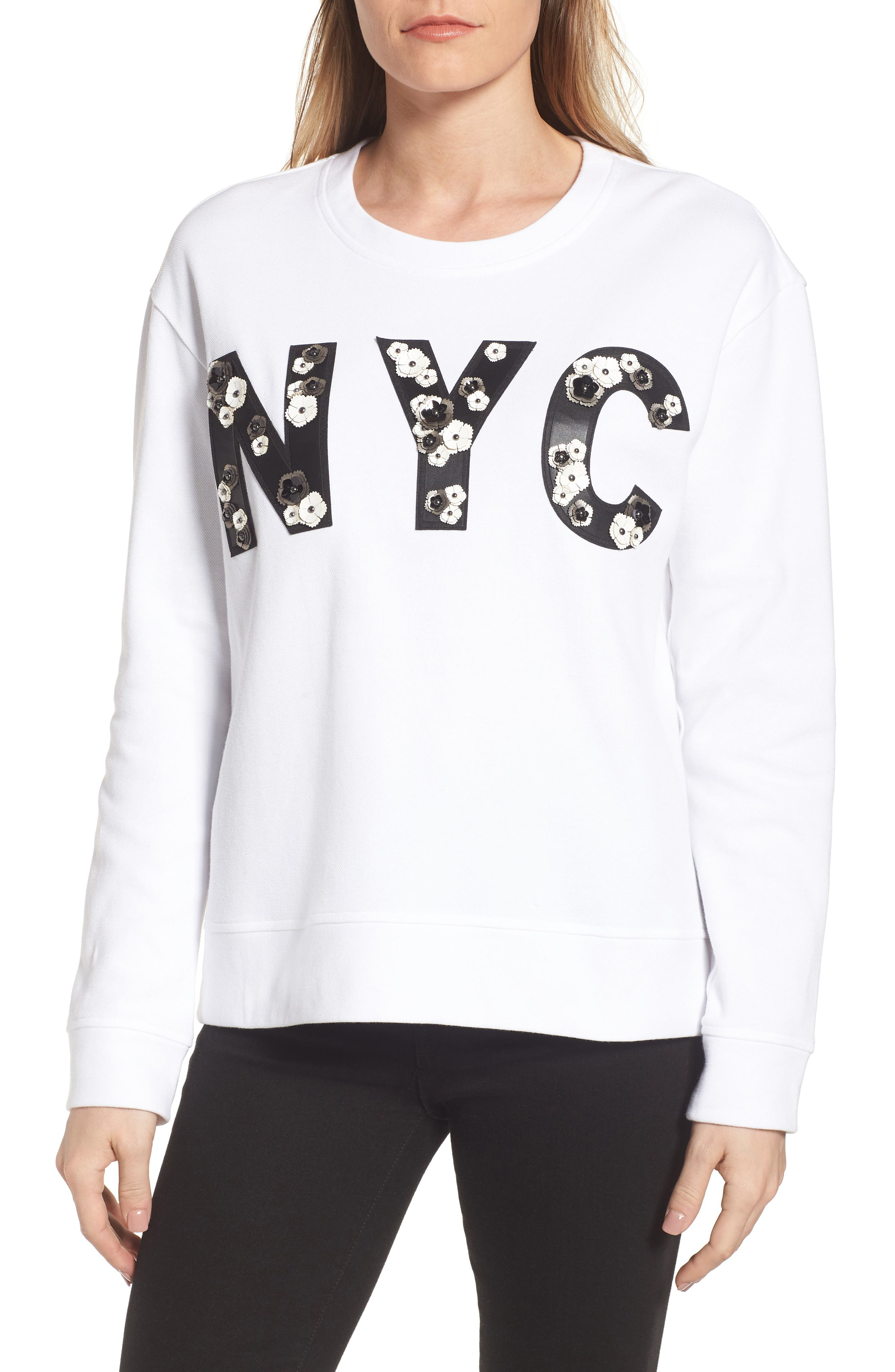 NYC Sweatshirt,                             Main thumbnail 1, color,                             White