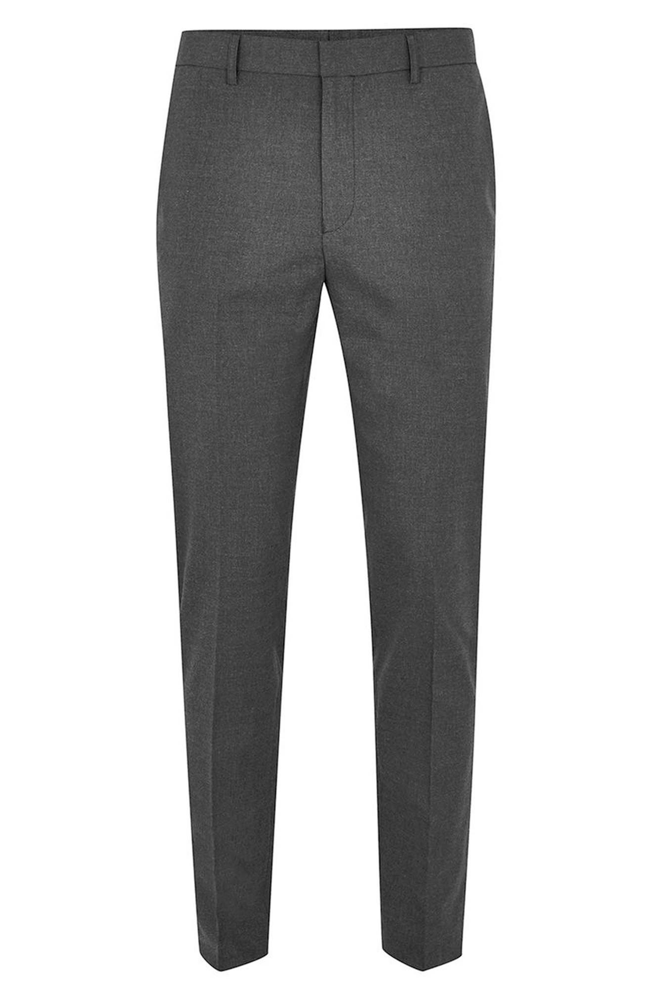Skinny Fit Trousers,                             Alternate thumbnail 4, color,                             Charcoal
