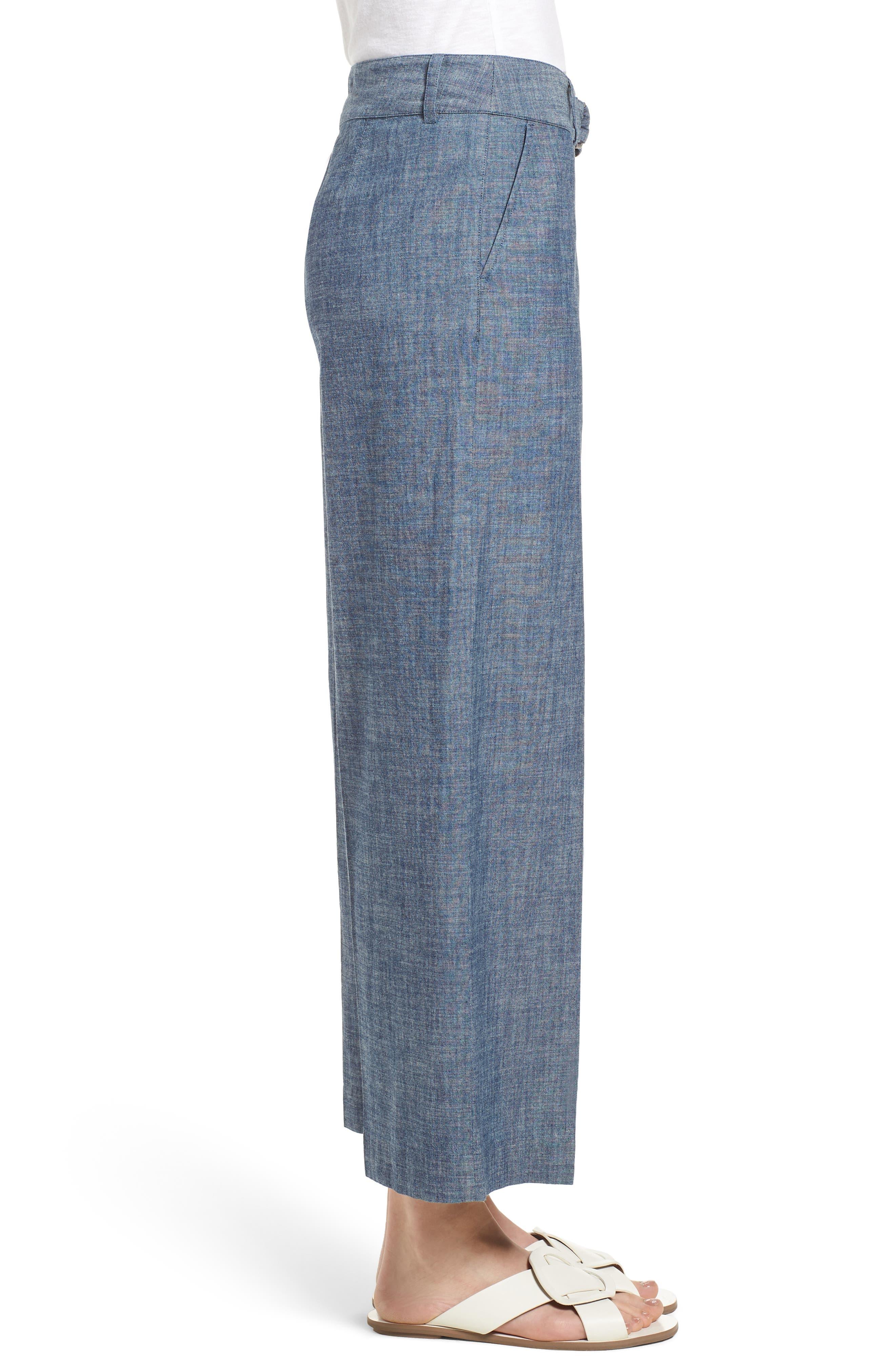 Wide Leg Crop Pants,                             Alternate thumbnail 3, color,                             Textured Navy