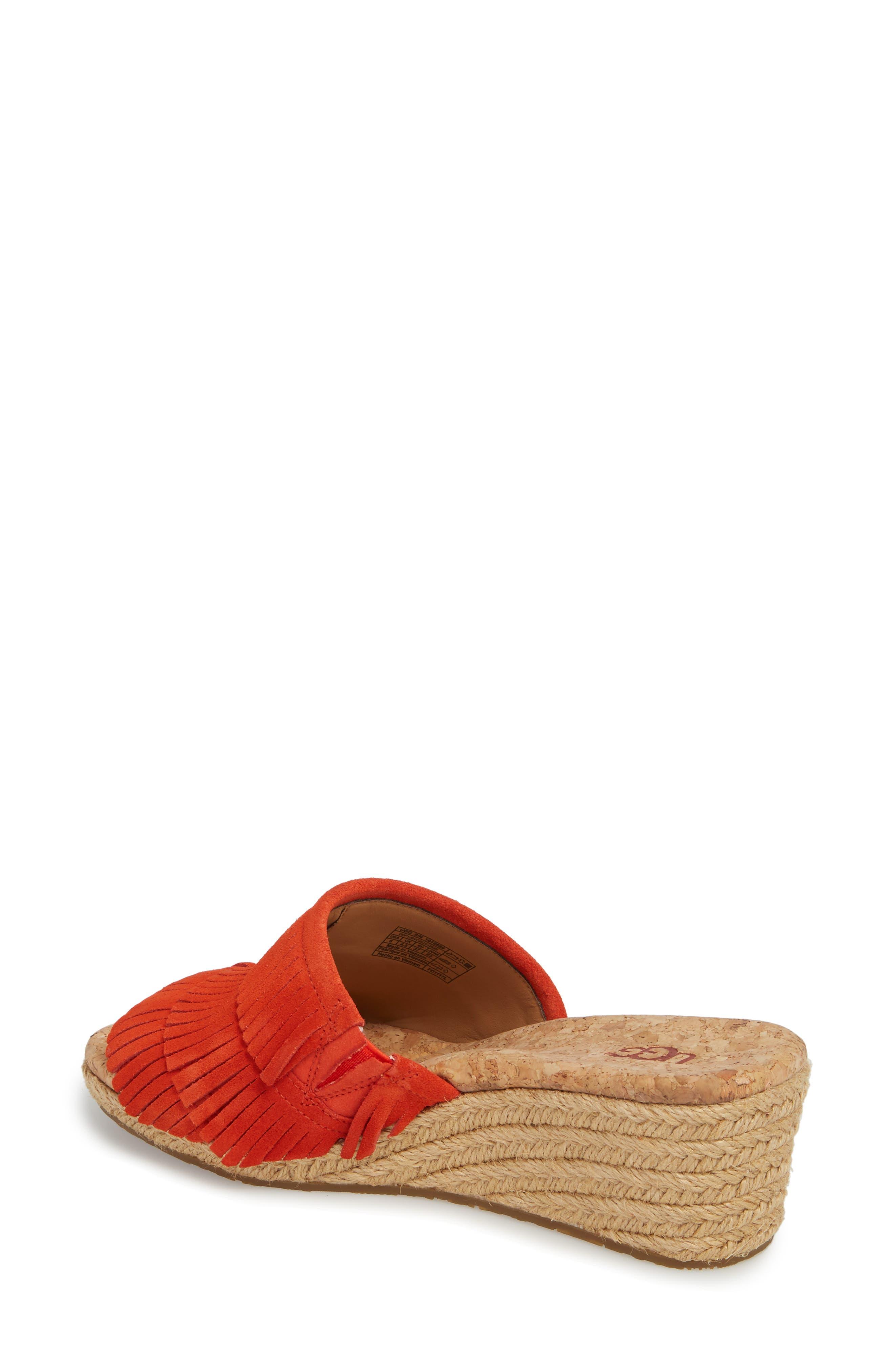 Kendra Fringe Wedge Sandal,                             Alternate thumbnail 2, color,                             Red Orange