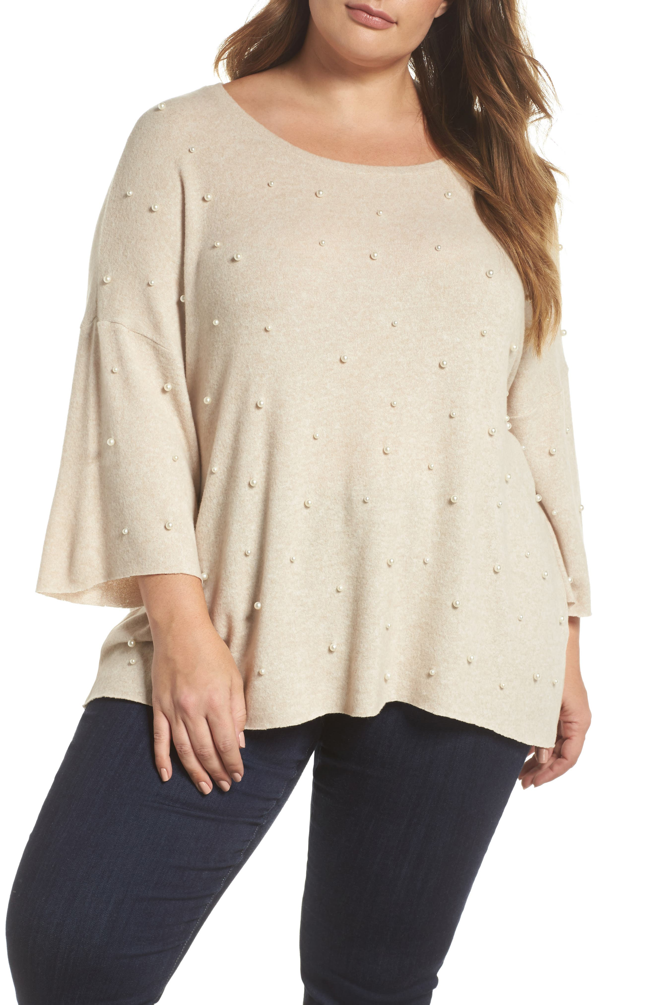 Pearl Embellished Sweater,                             Main thumbnail 1, color,                             Oatmeal