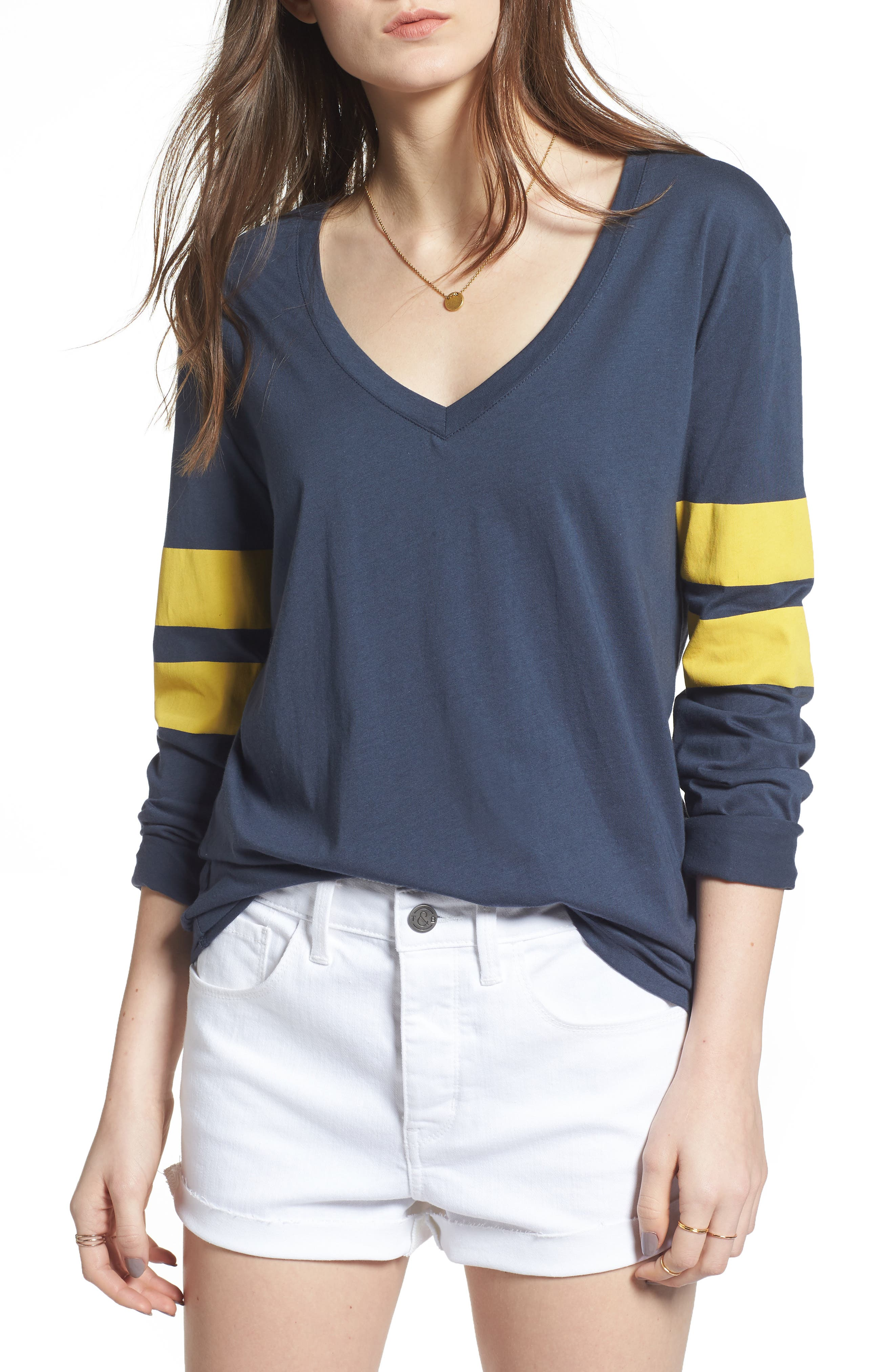 Varsity Stripe Tee,                             Main thumbnail 1, color,                             Navy Blue- Yellow Combo