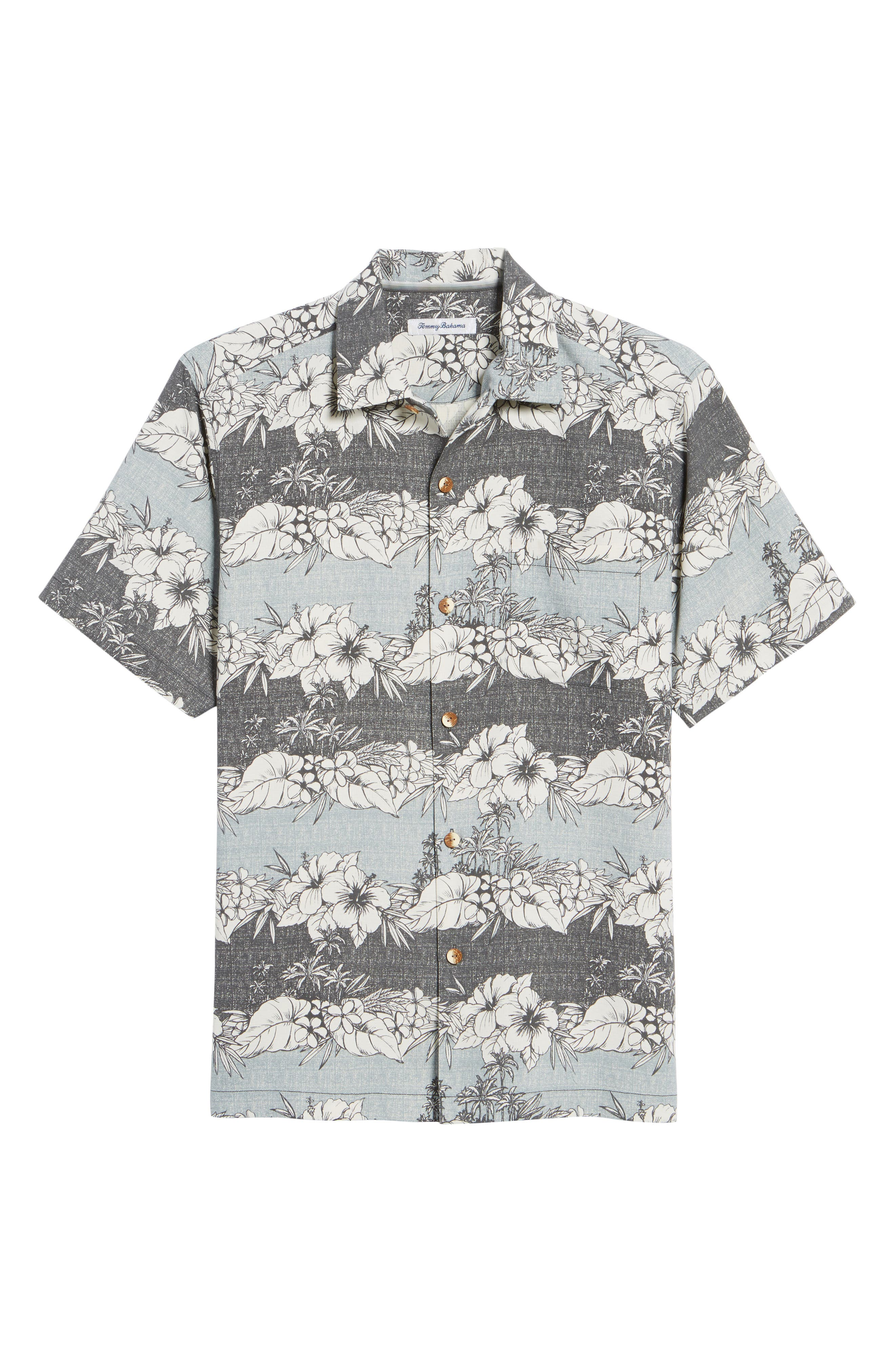 Sky Vines Silk Blend Camp Shirt,                             Alternate thumbnail 6, color,                             Fog Grey
