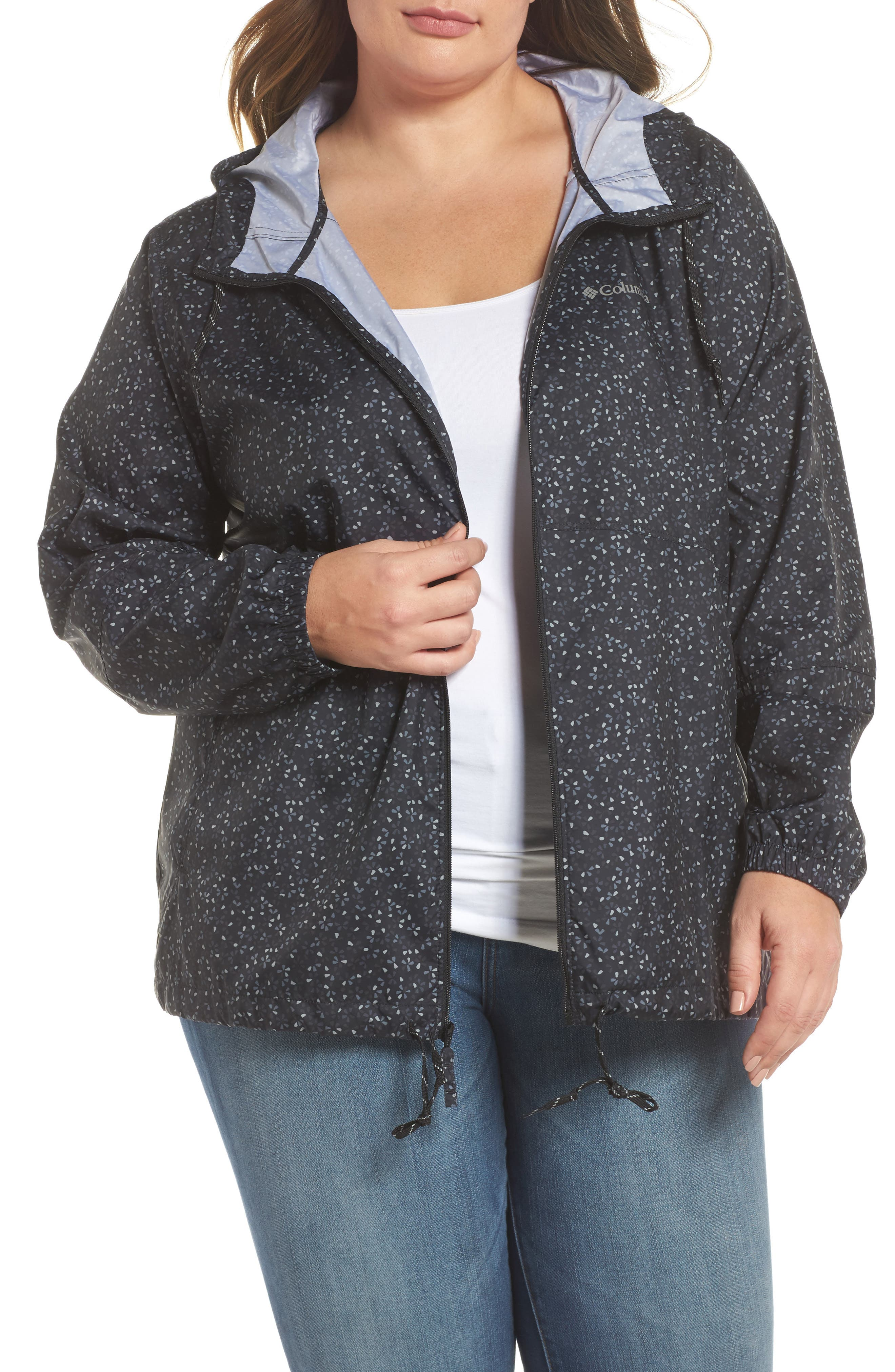 Flash Forward Print Hooded Jacket,                         Main,                         color, Black Print
