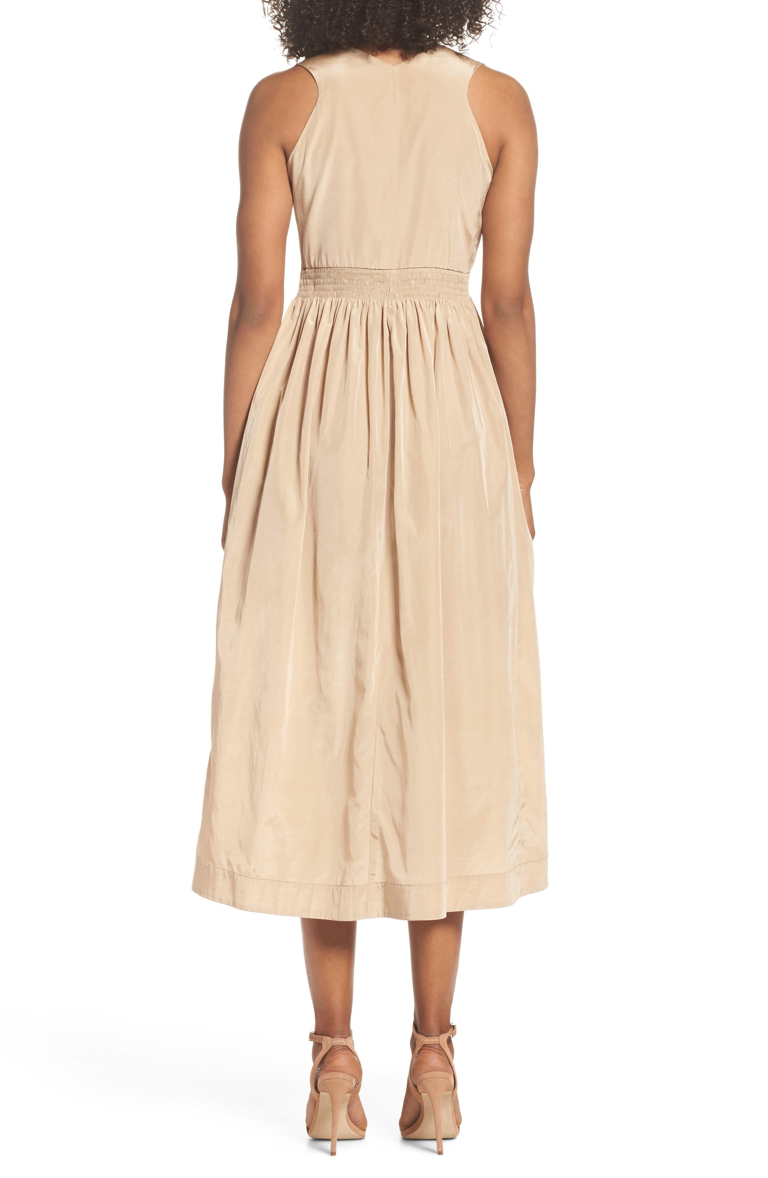 Aria Cotton & Silk Midi Dress,                             Alternate thumbnail 2, color,                             Beige