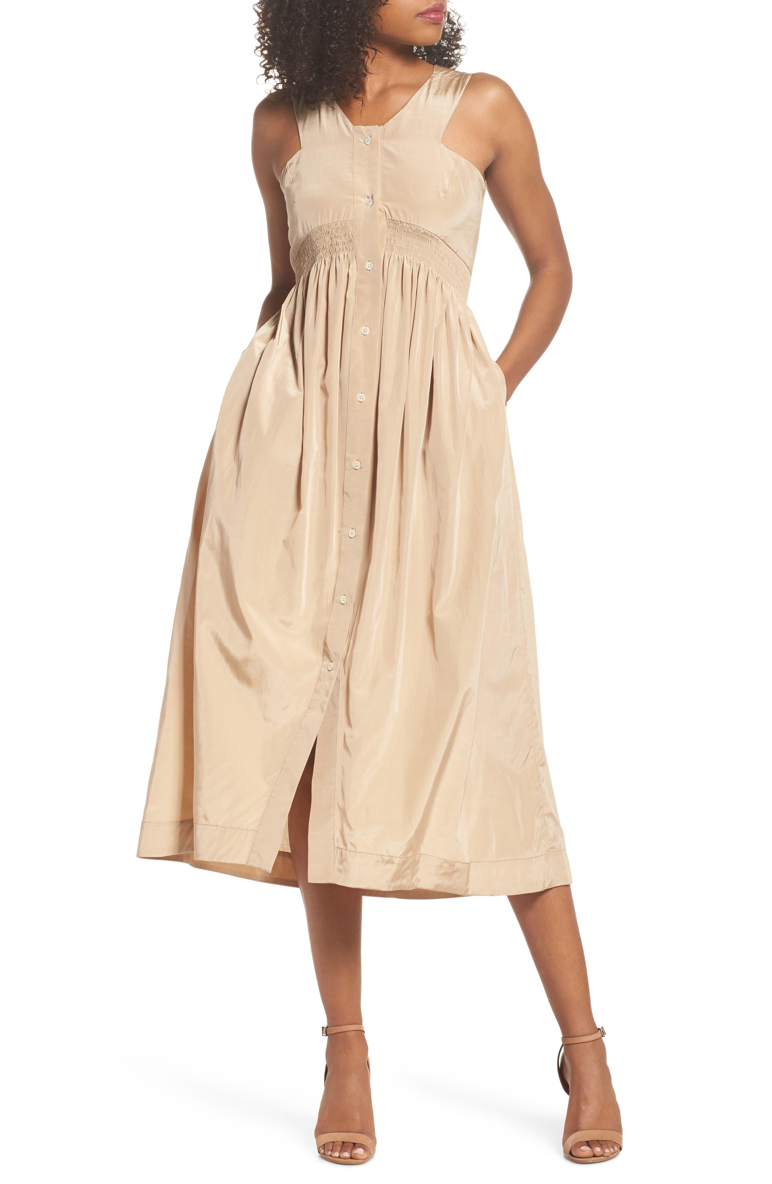 Aria Cotton & Silk Midi Dress,                             Main thumbnail 1, color,                             Beige