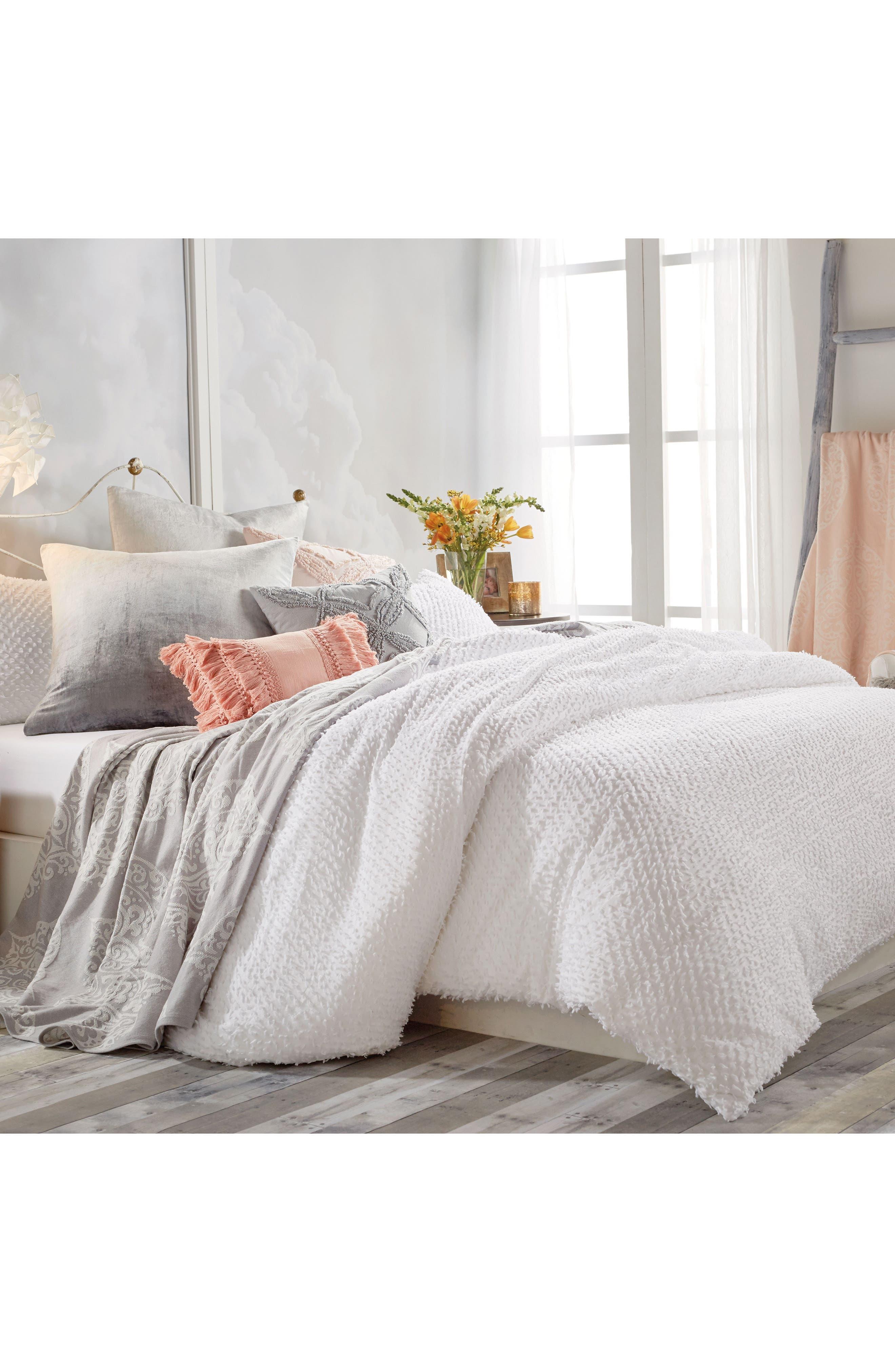 Dot Fringe Duvet Cover,                         Main,                         color, White