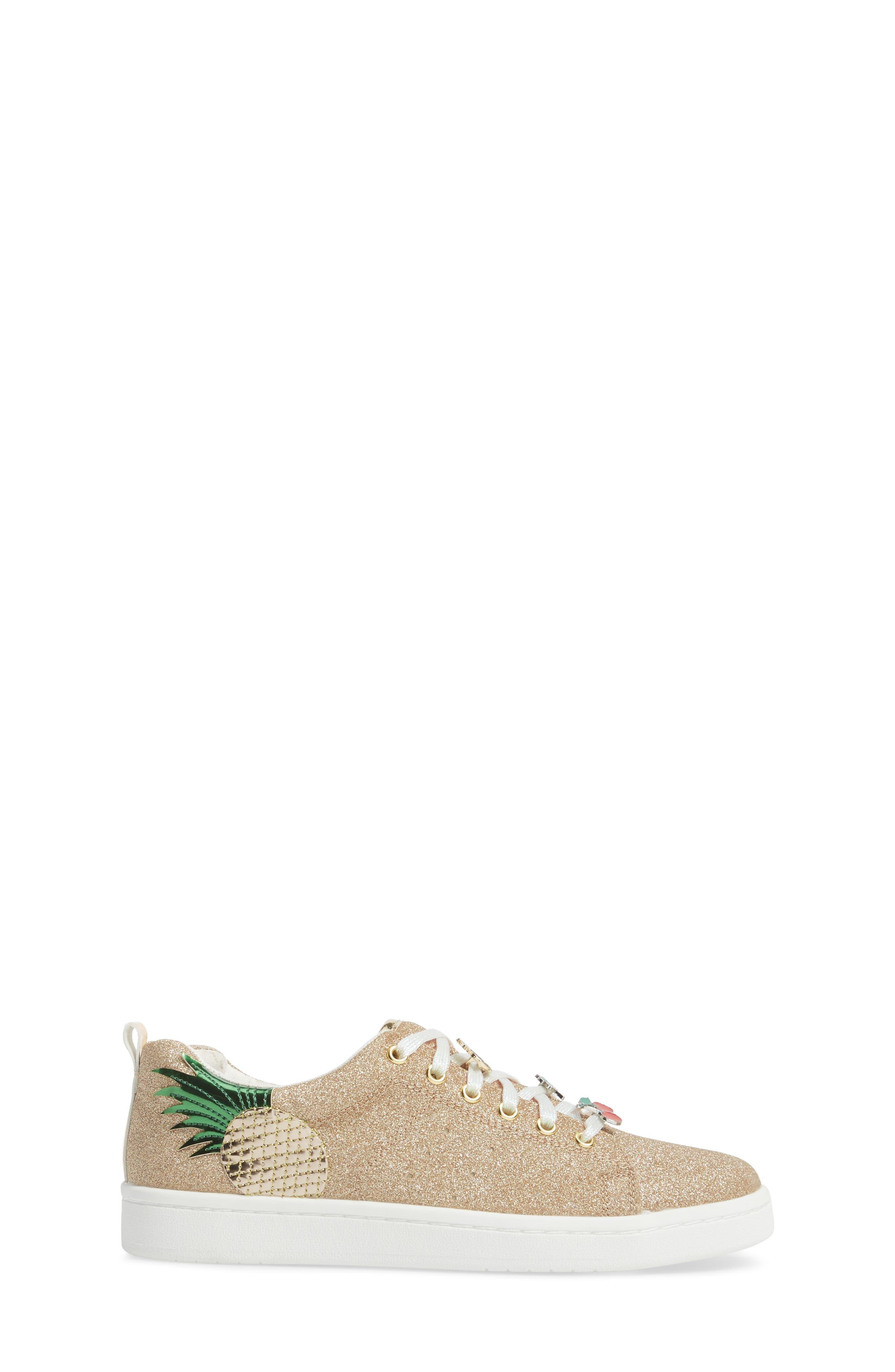 Blane Myth Glitter Sneaker,                             Alternate thumbnail 3, color,                             Golden Pineapple Faux Leather