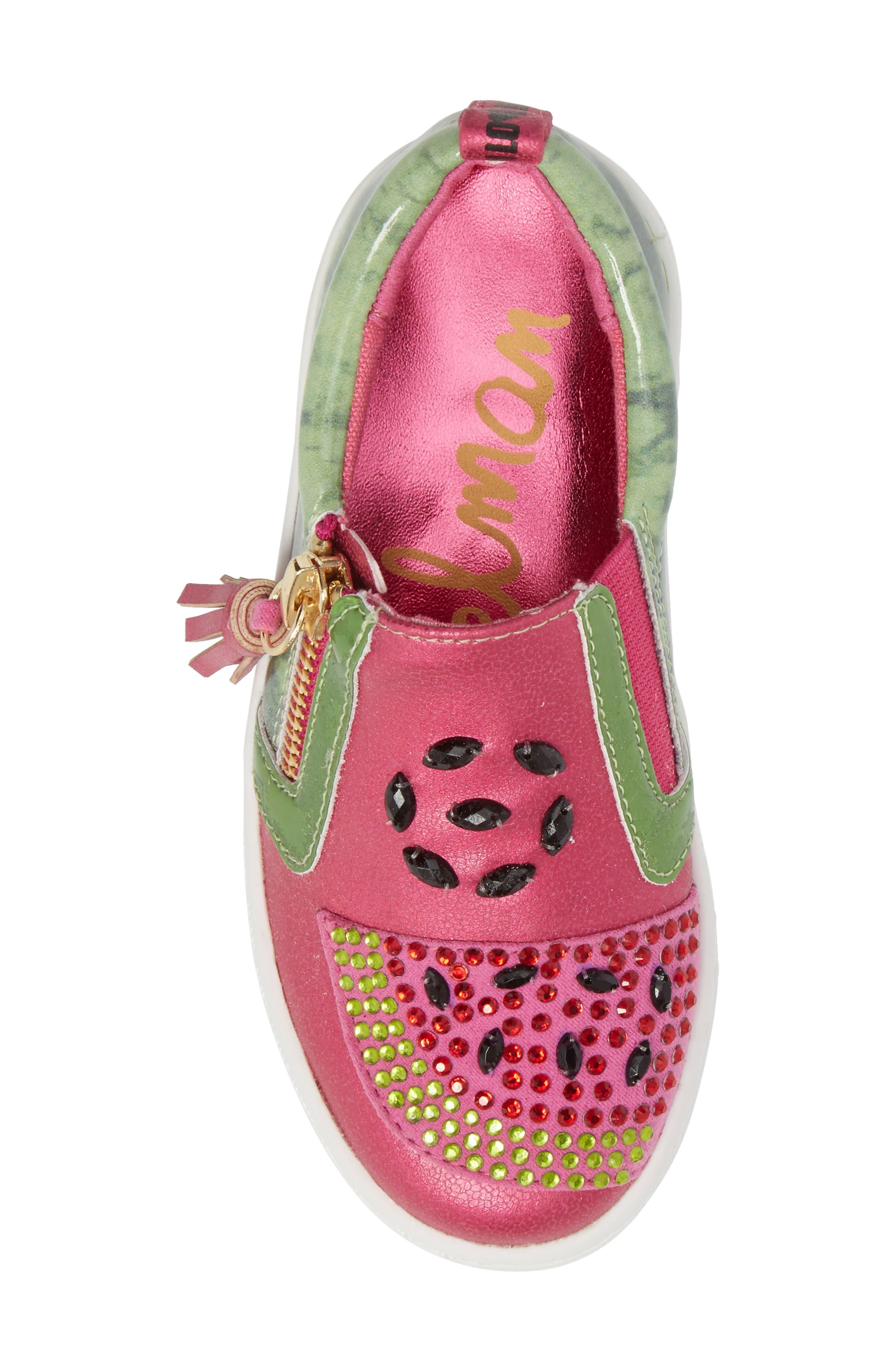 Blane Watermelon Sneaker,                             Alternate thumbnail 5, color,                             Fuchsia Patent Leather