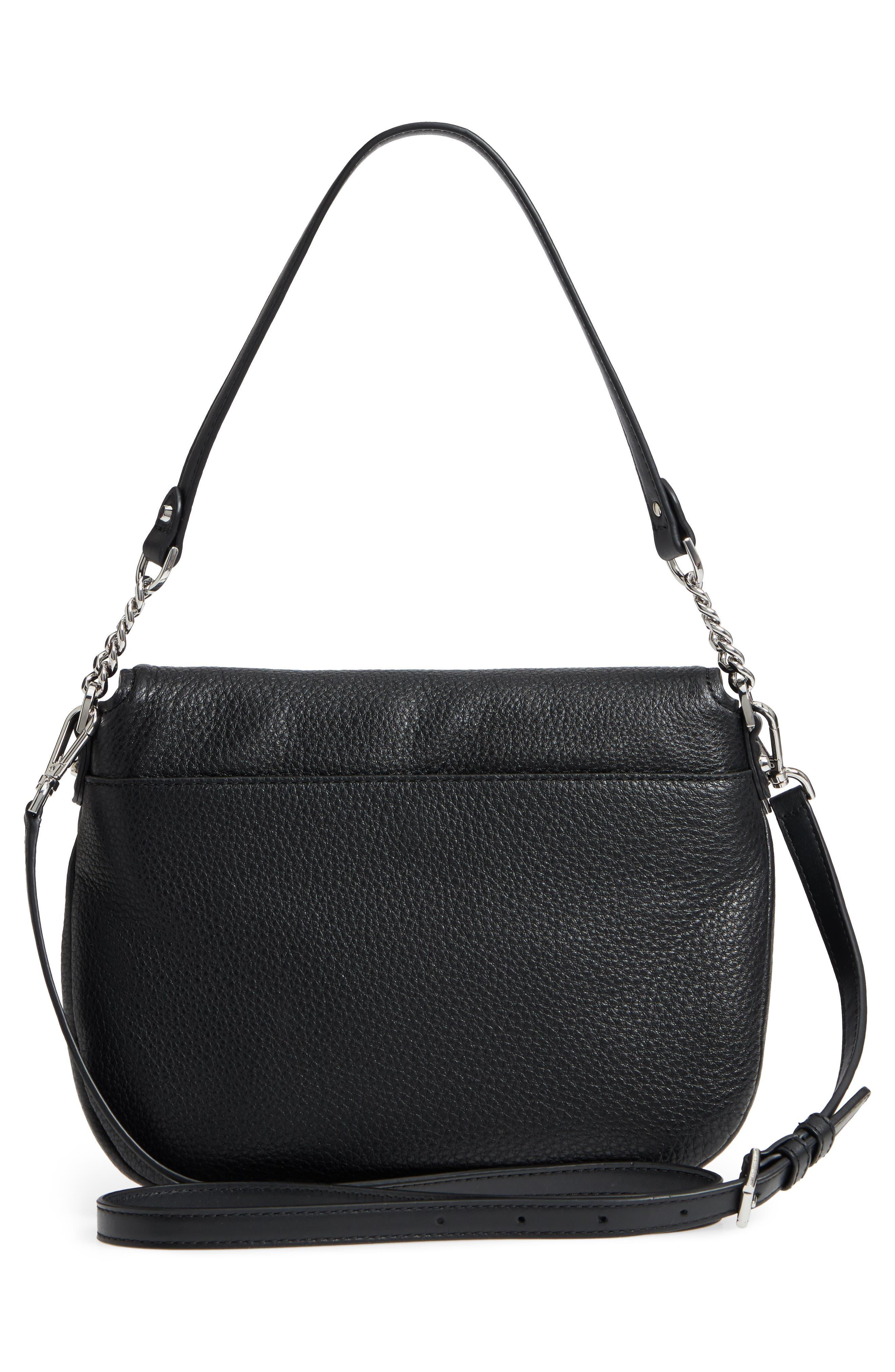 Medium Leather Shoulder Bag,                             Alternate thumbnail 3, color,                             Black