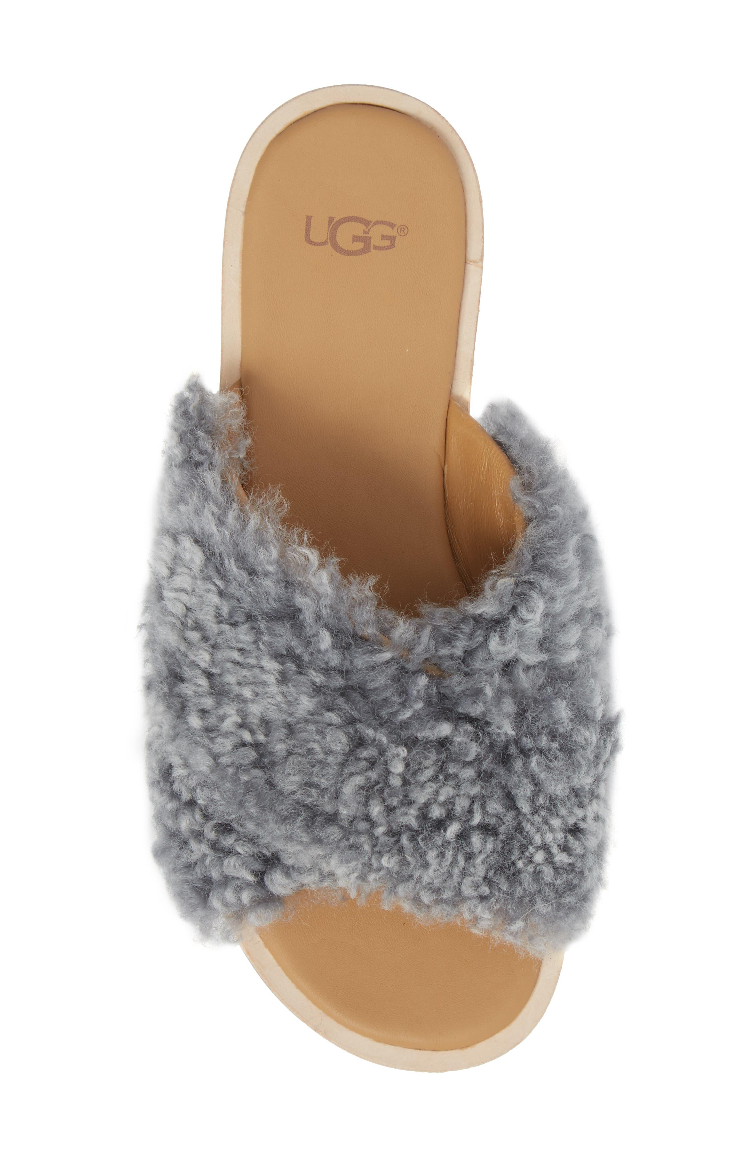 Joni Genuine Shearling Slide Sandal,                             Alternate thumbnail 5, color,                             Lude Grey