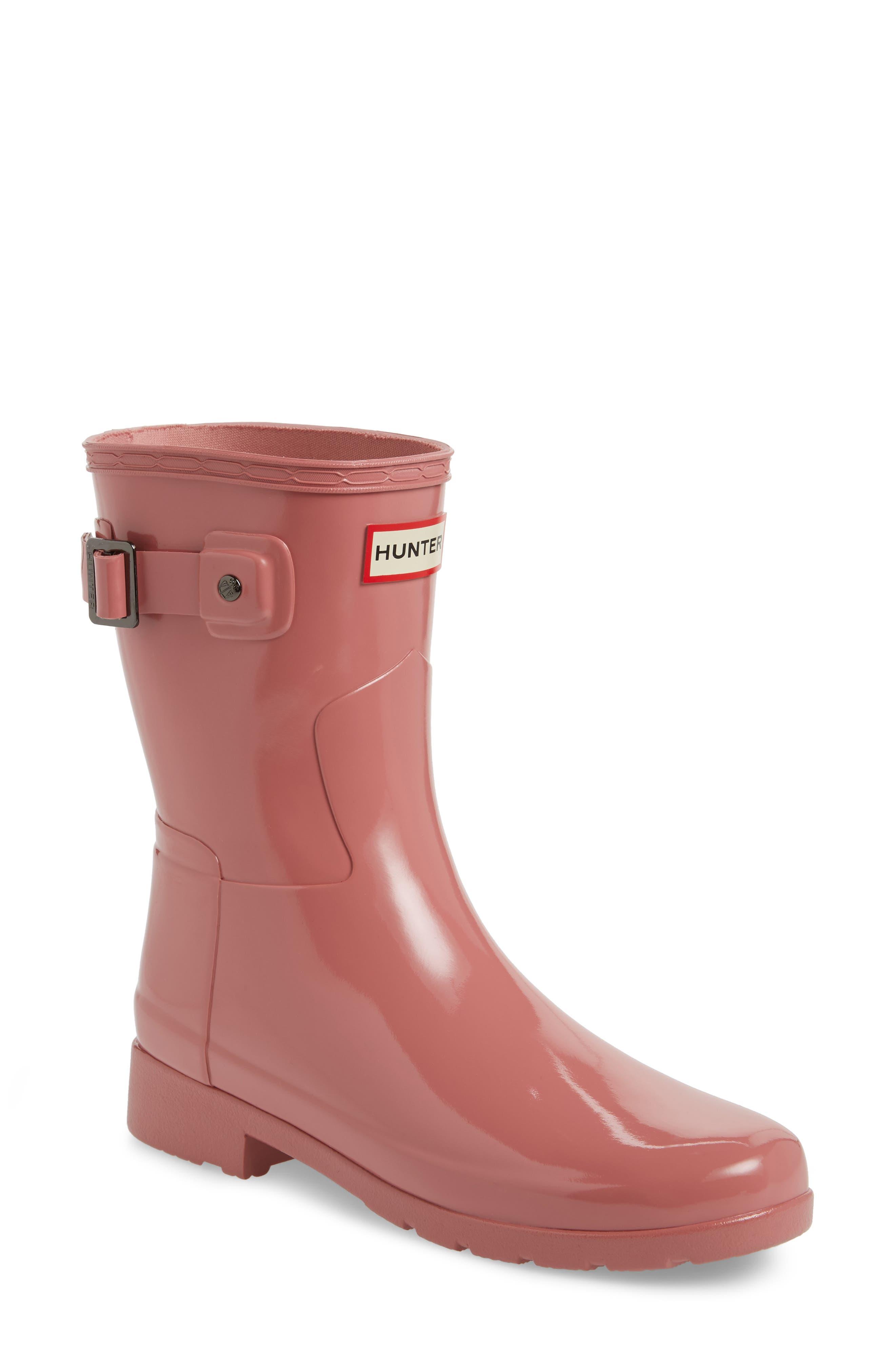 'Refined Short' Gloss Rain Boot,                             Main thumbnail 1, color,                             Pale Rose