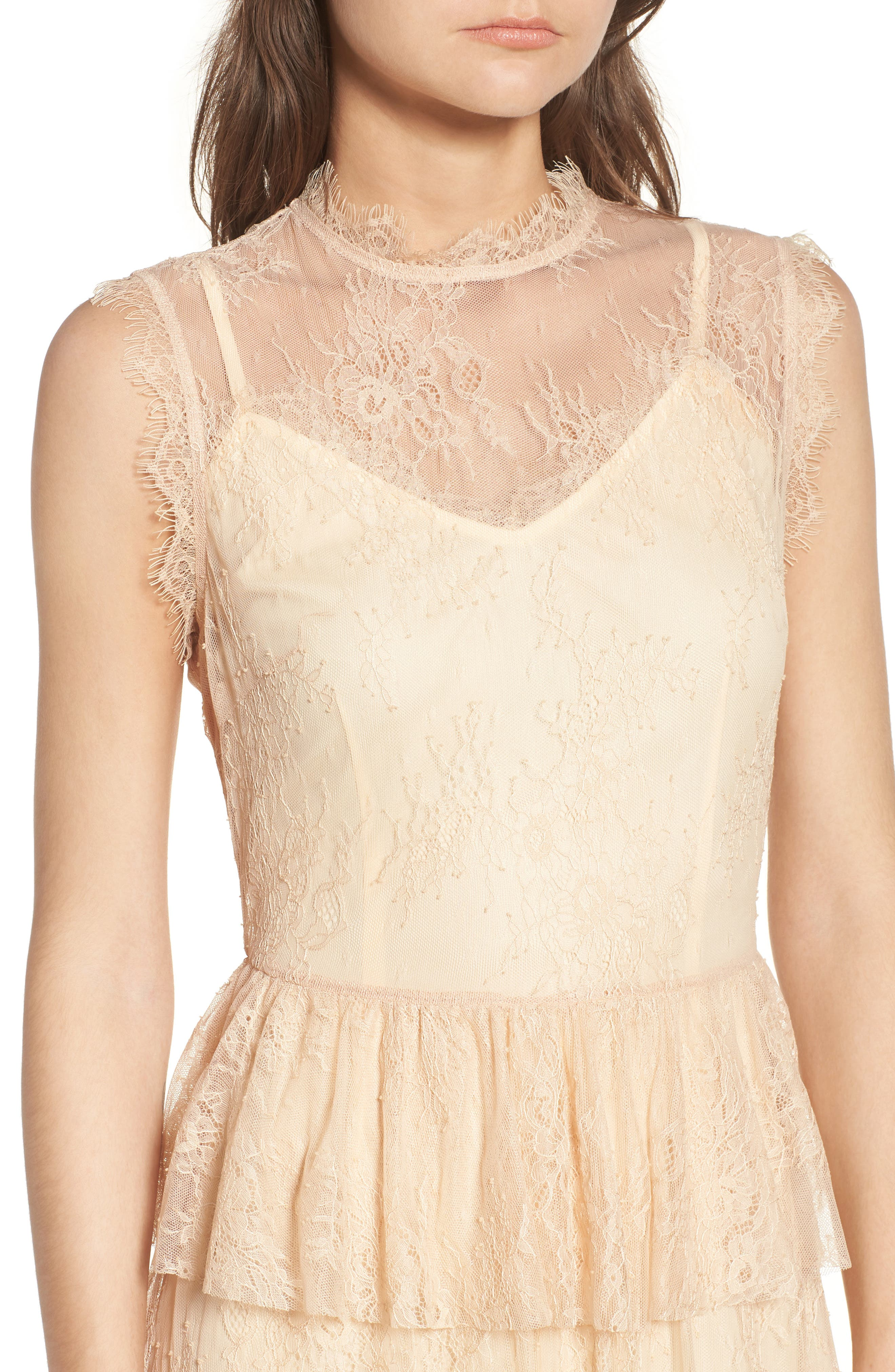 Lace Fit & Flare Dress,                             Alternate thumbnail 4, color,                             Nude