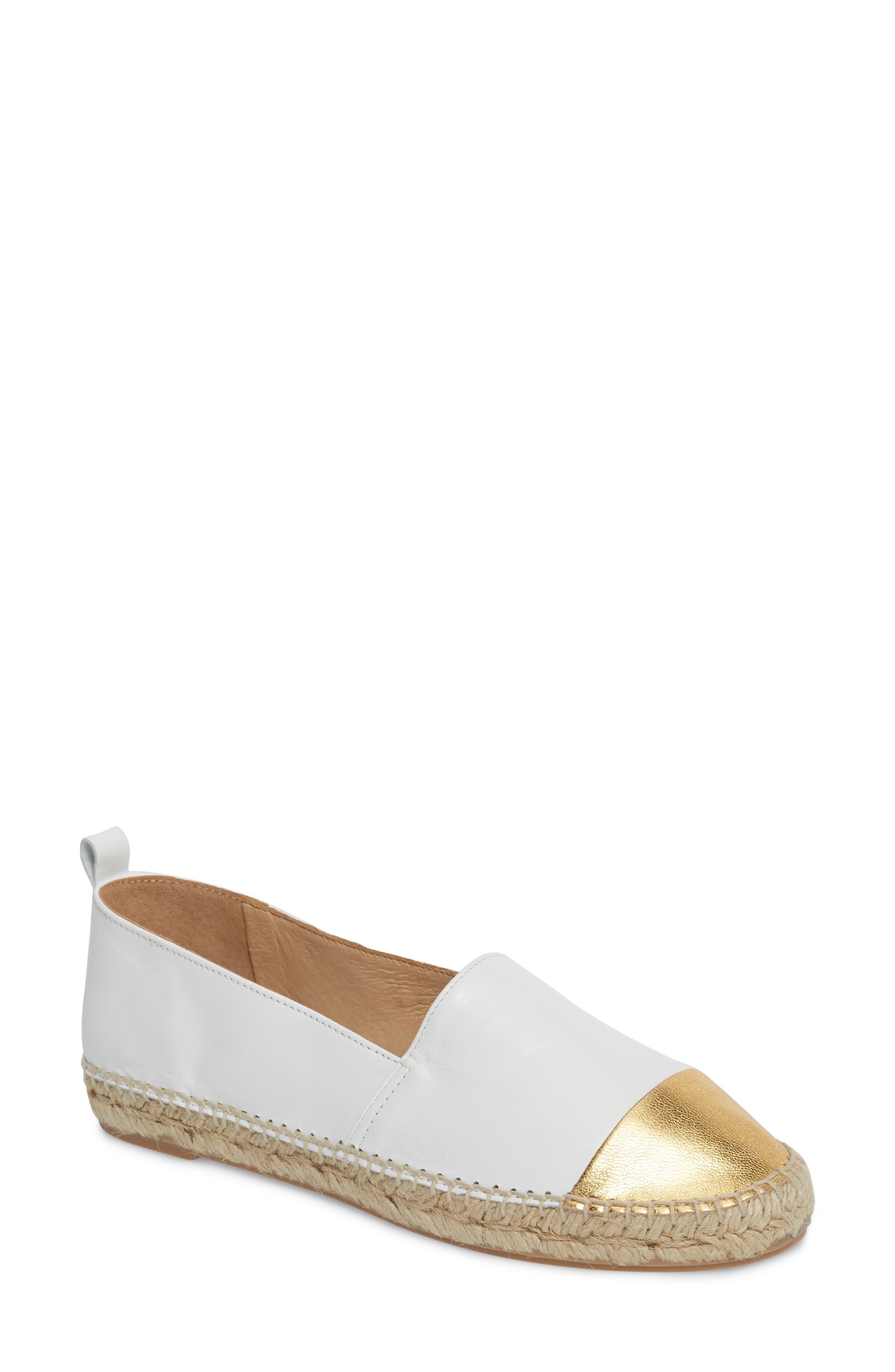 Lynn Cap Toe Espadrille,                         Main,                         color, White/ Gold Leather
