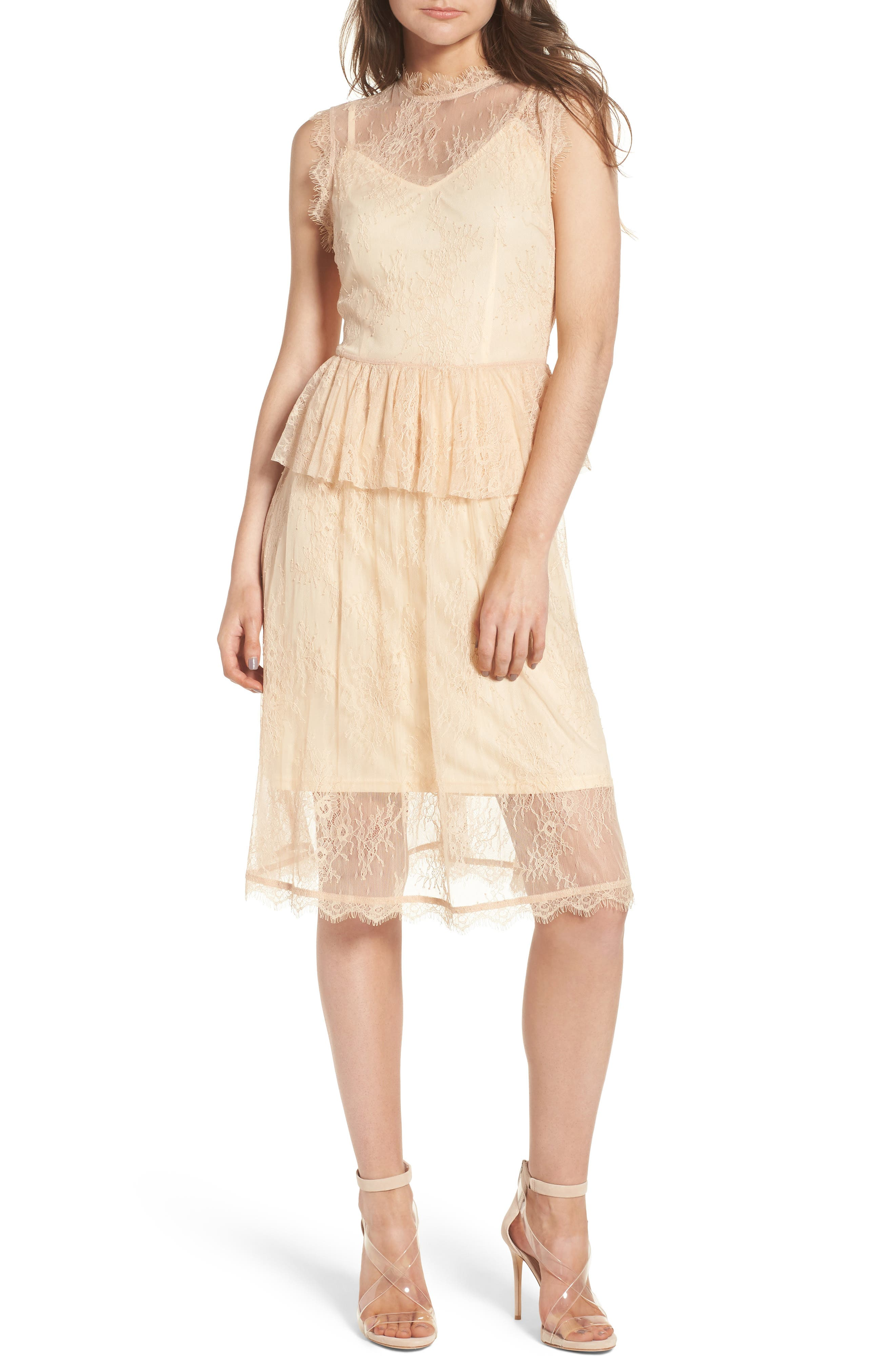 Lace Fit & Flare Dress,                             Main thumbnail 1, color,                             Nude
