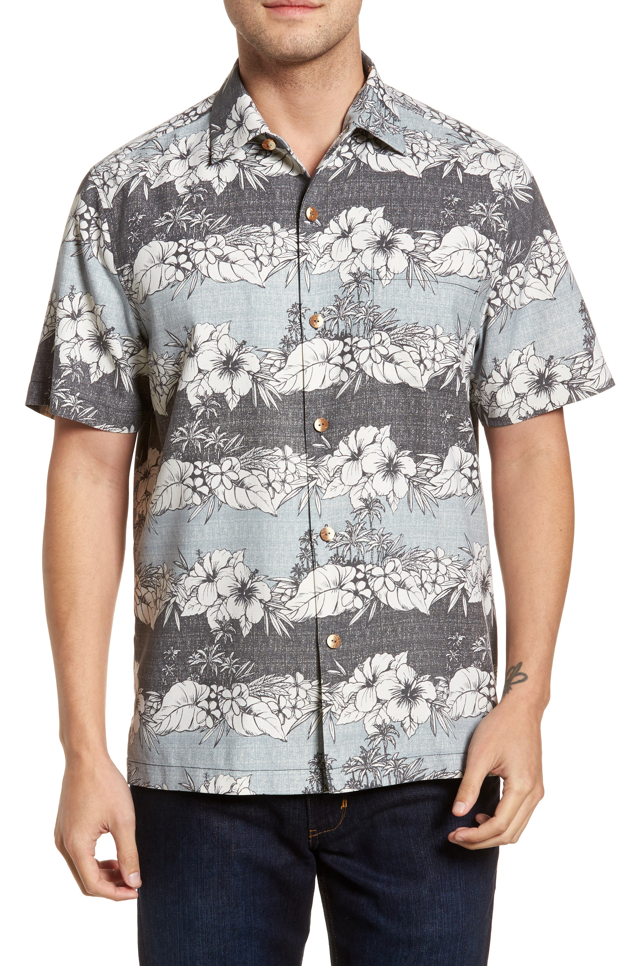 Sky Vines Silk Blend Camp Shirt,                         Main,                         color, Fog Grey