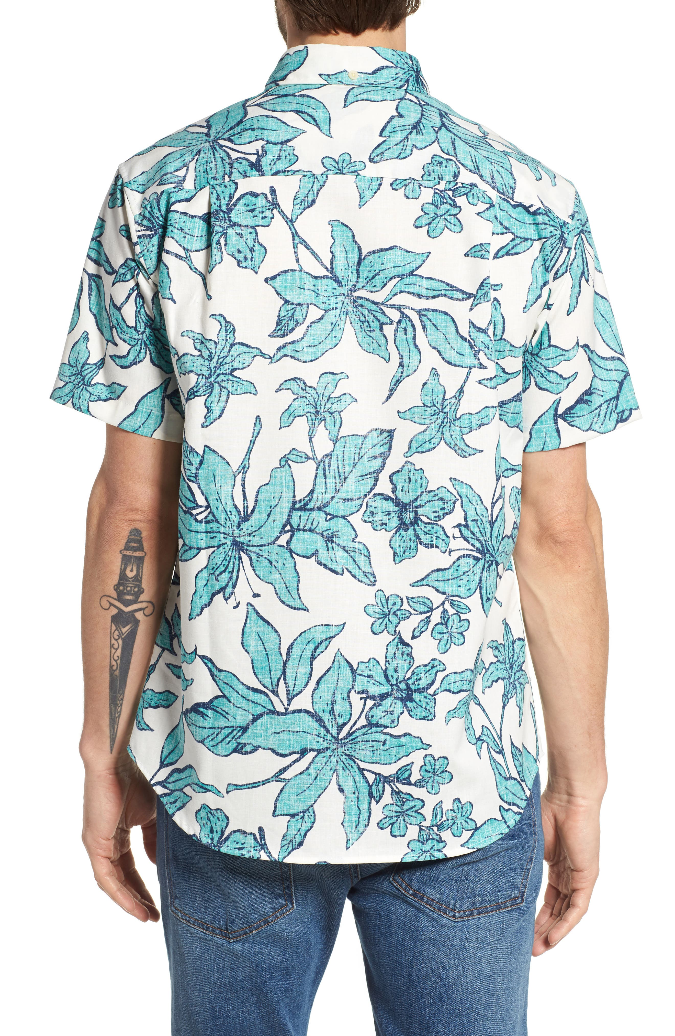 Luhiehu Tailored Fit Print Camp Shirt,                             Alternate thumbnail 2, color,                             Natural