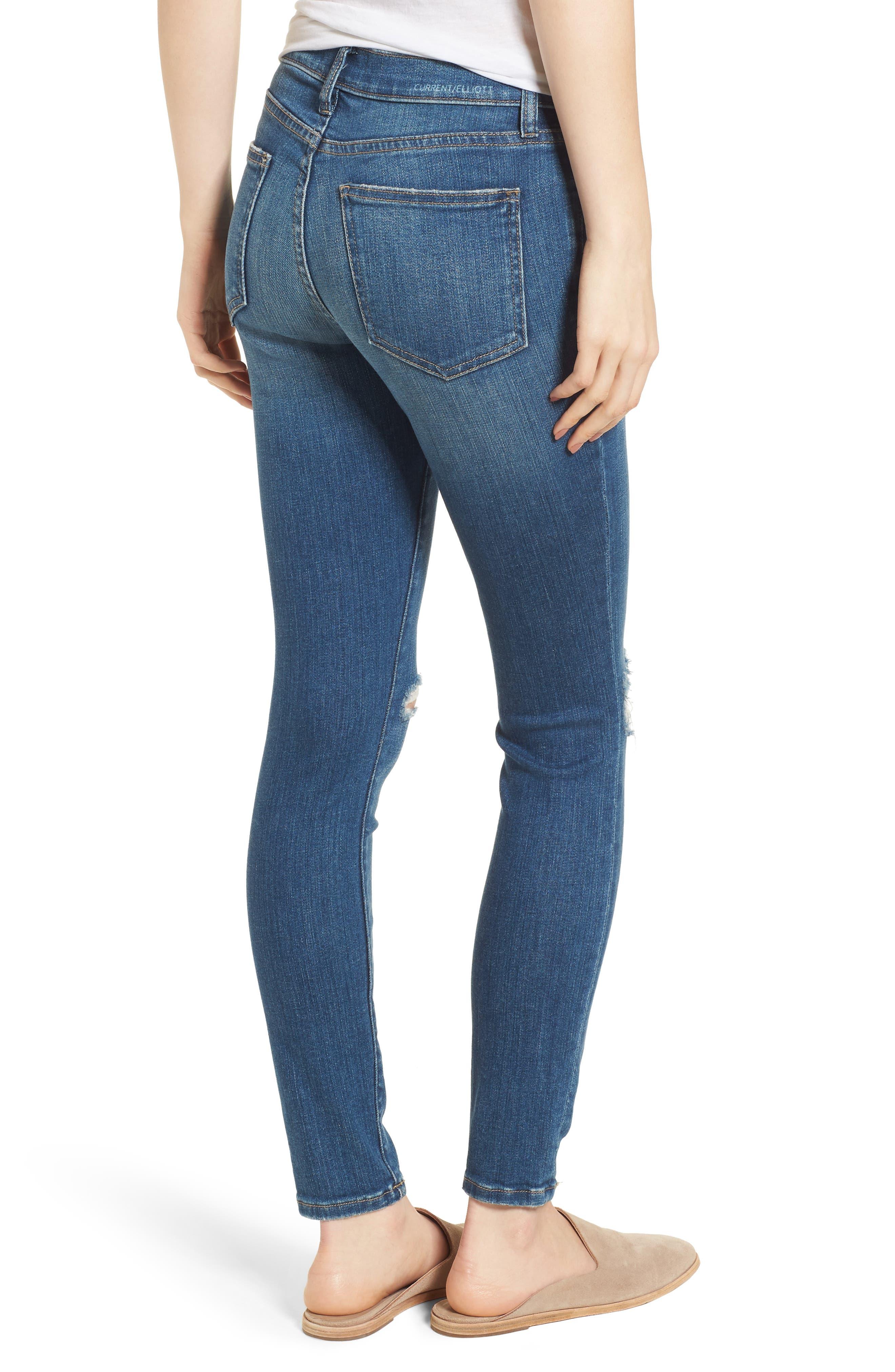 The High Waist Ankle Skinny Jeans,                             Alternate thumbnail 2, color,                             Joey Dark Destroy