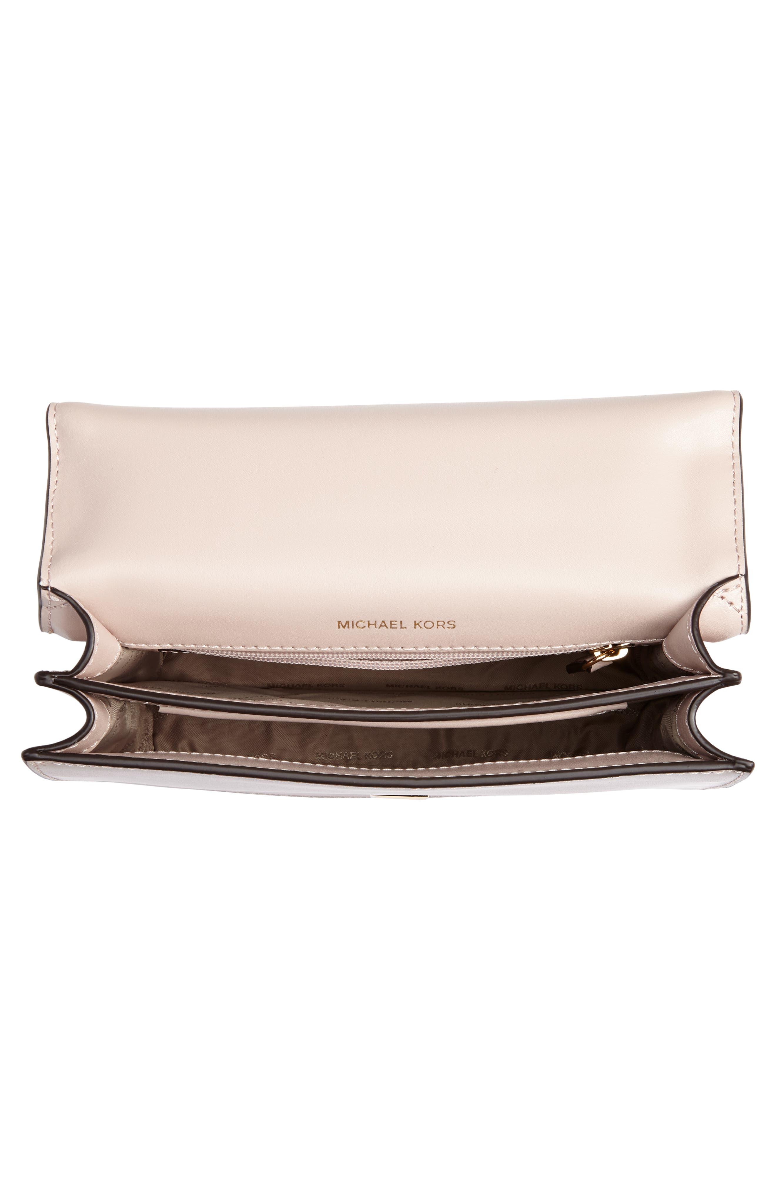 Large Mott Chain Swag Leather Shoulder Bag,                             Alternate thumbnail 4, color,                             Soft Pink