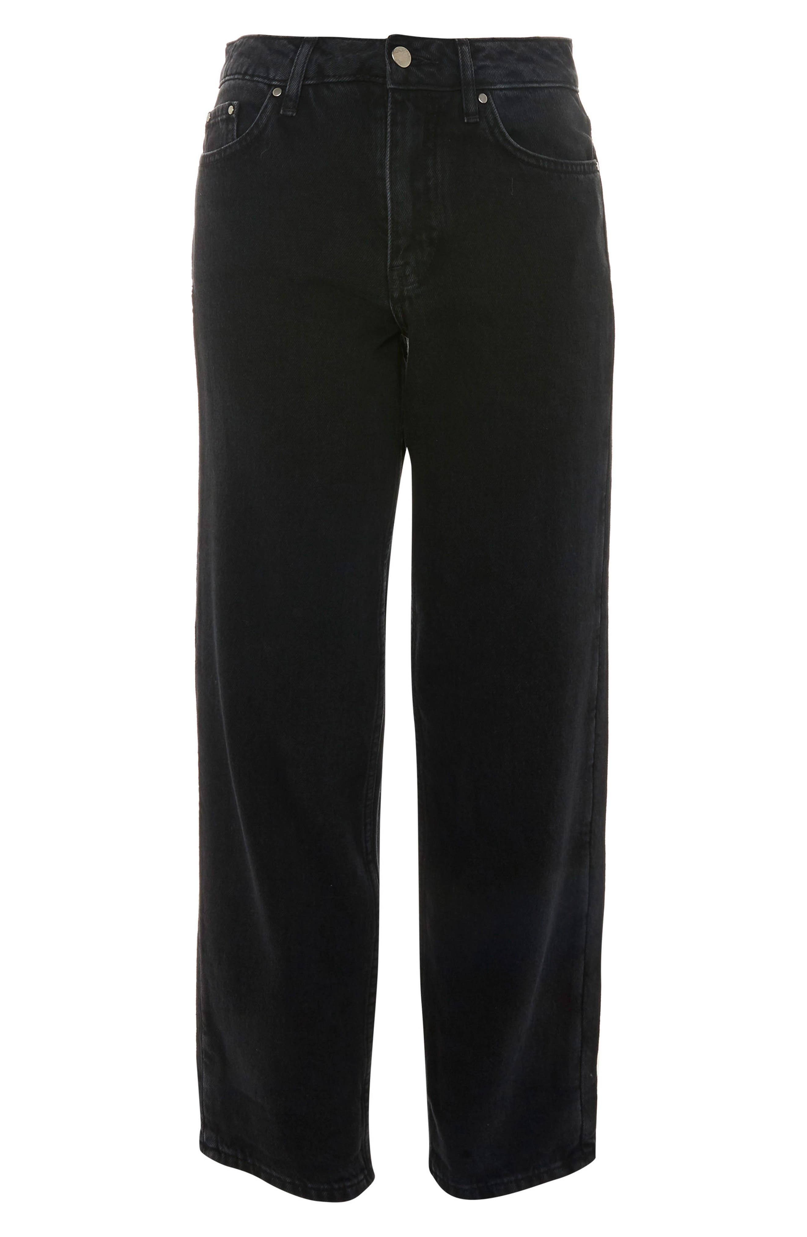 Topshop Boutique Black Straight Leg Moto Jeans