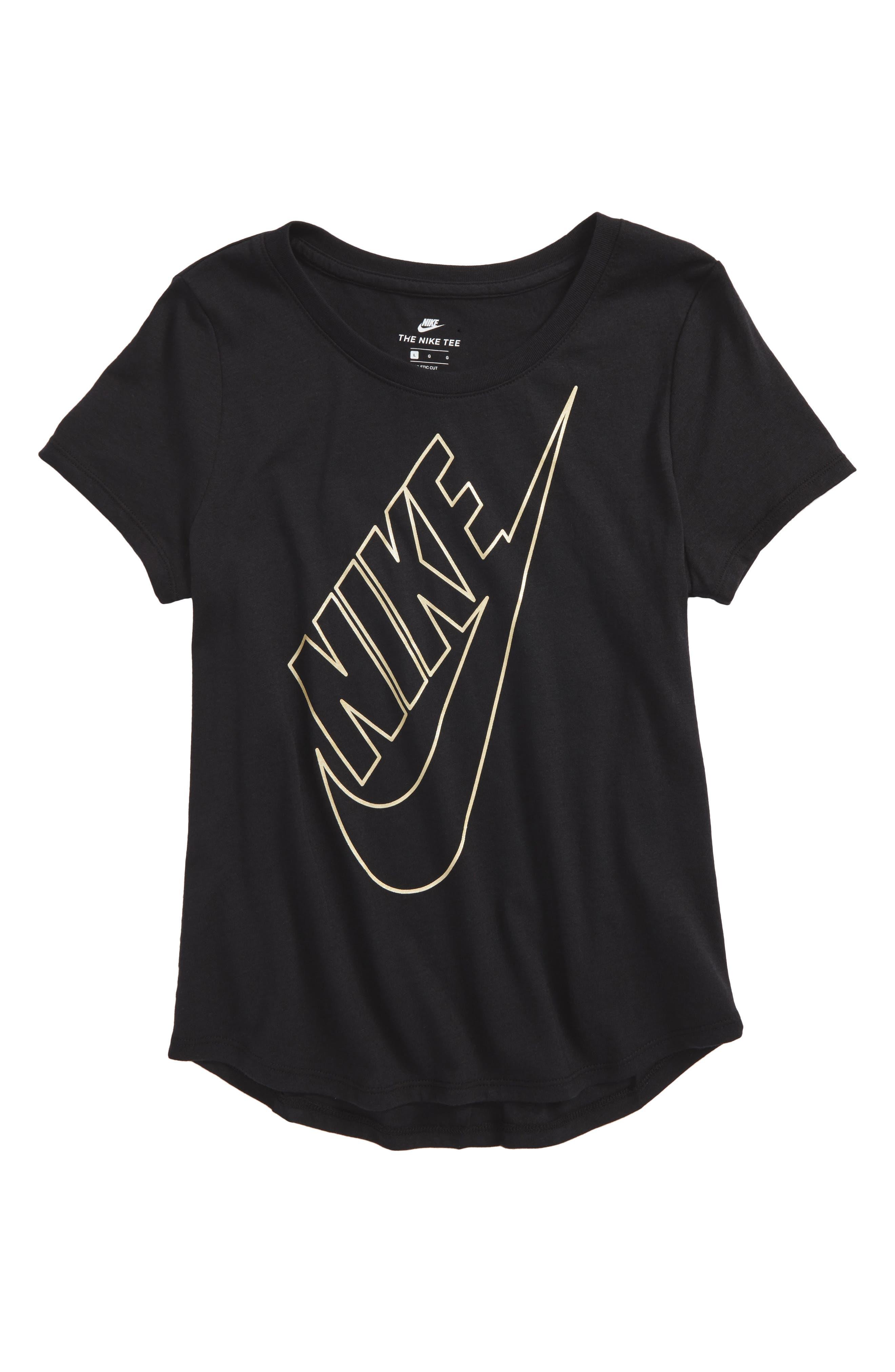 Nike Sportswear Metallic Logo Graphic Tee (Big Girls)