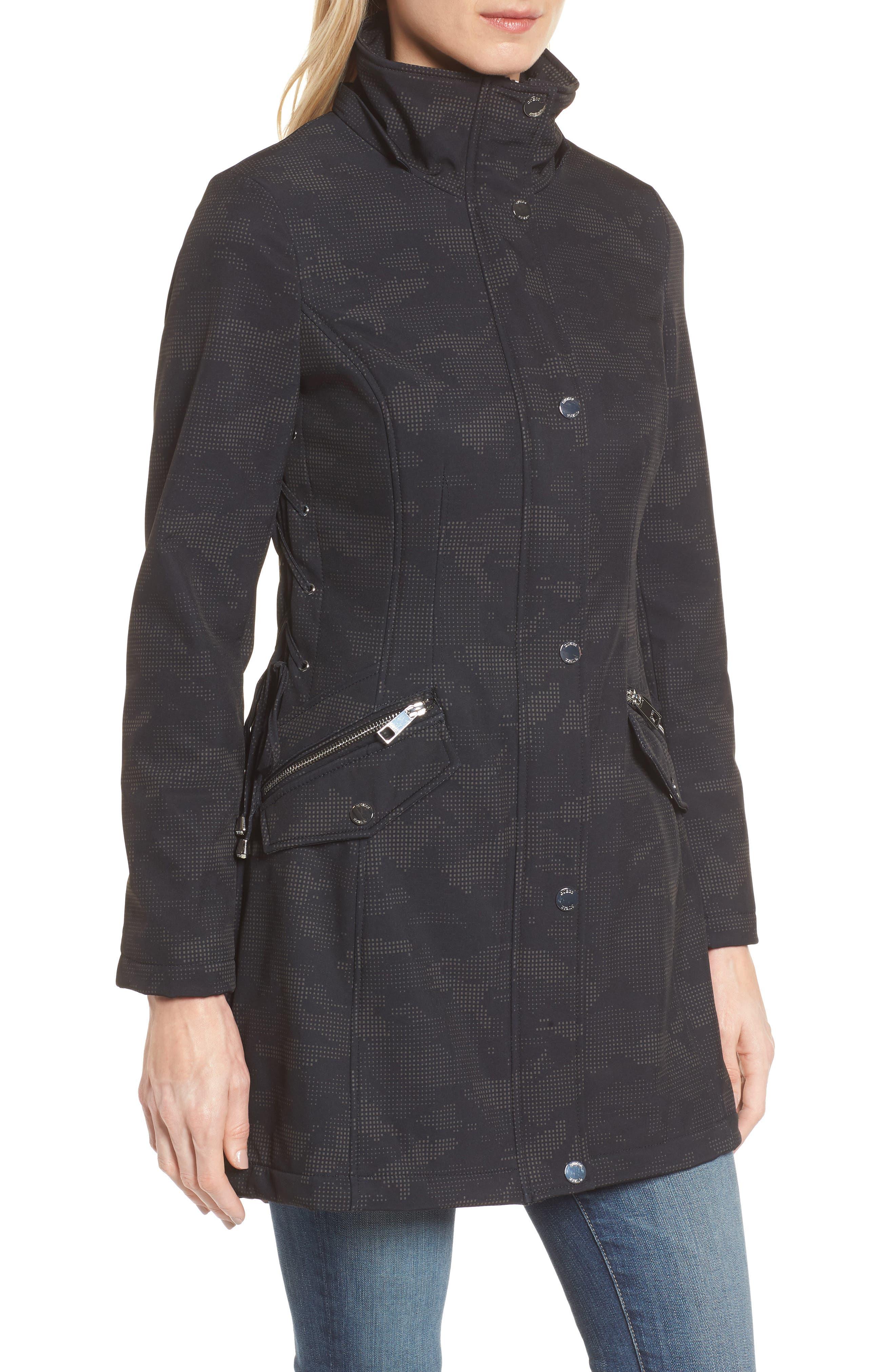 Lace-Up Hooded Jacket,                             Alternate thumbnail 4, color,                             Black Print
