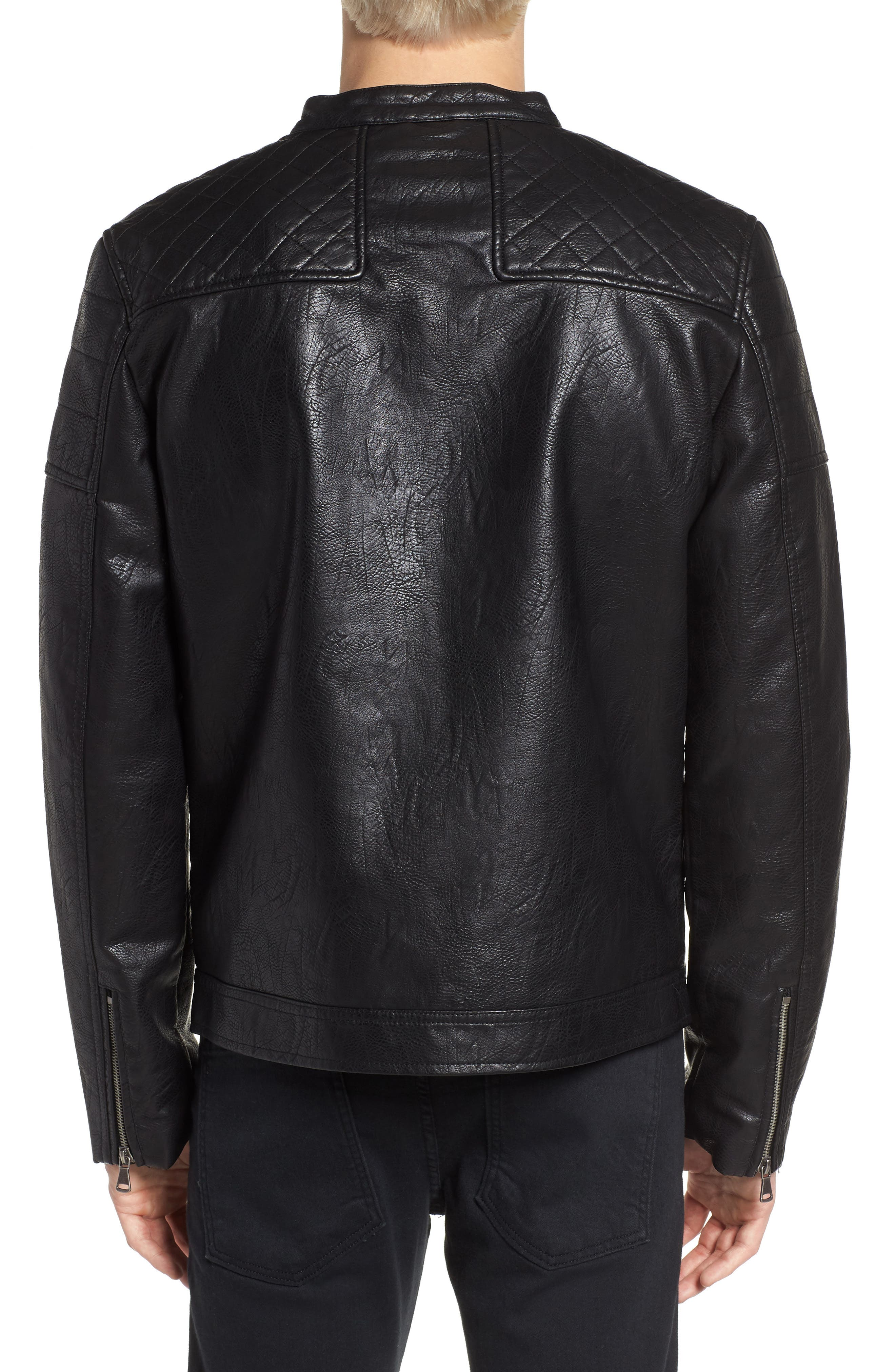 Washed Faux Leather Racer Jacket,                             Alternate thumbnail 2, color,                             Black
