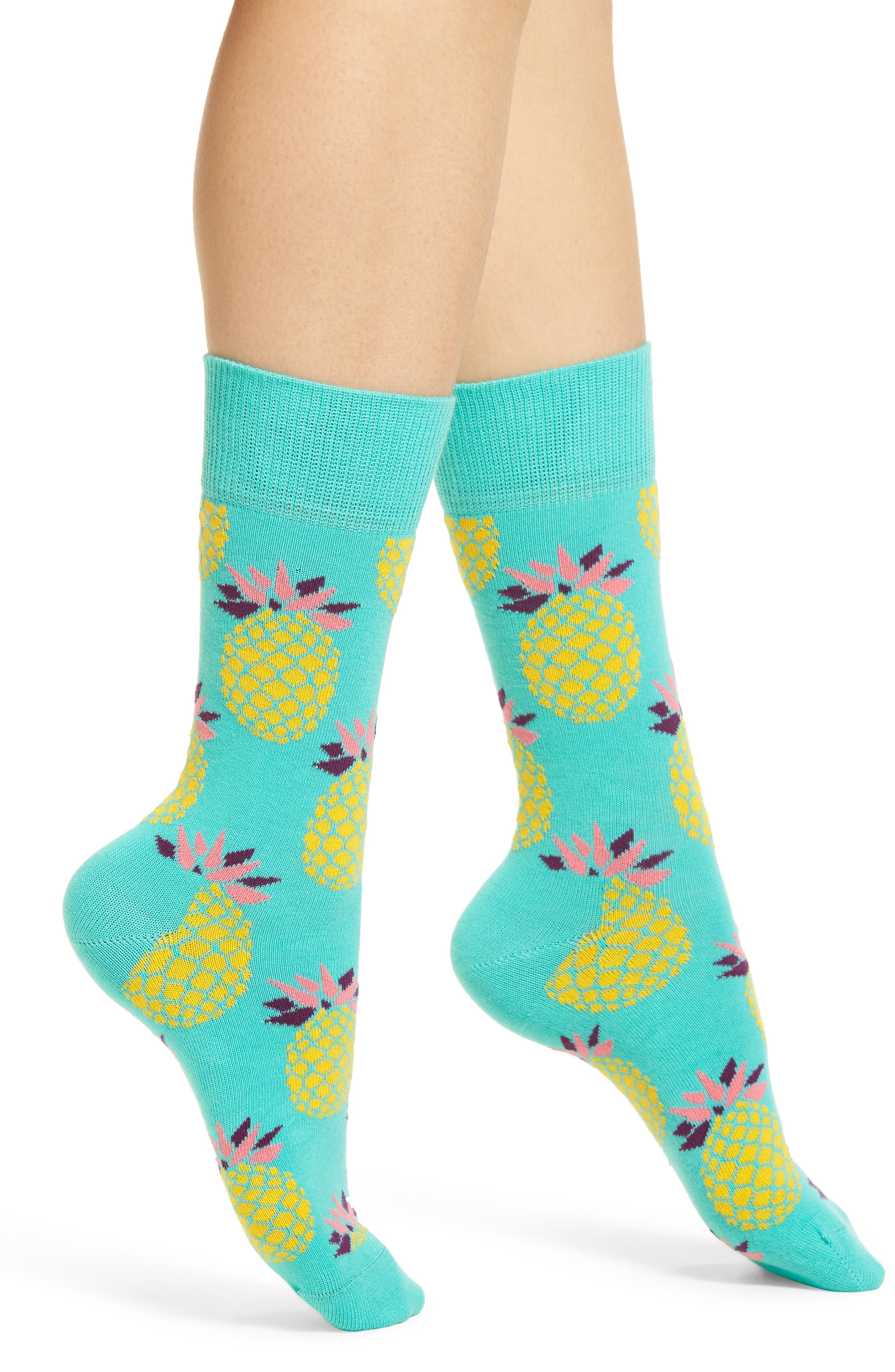 Pineapple Crew Socks,                         Main,                         color, Blue