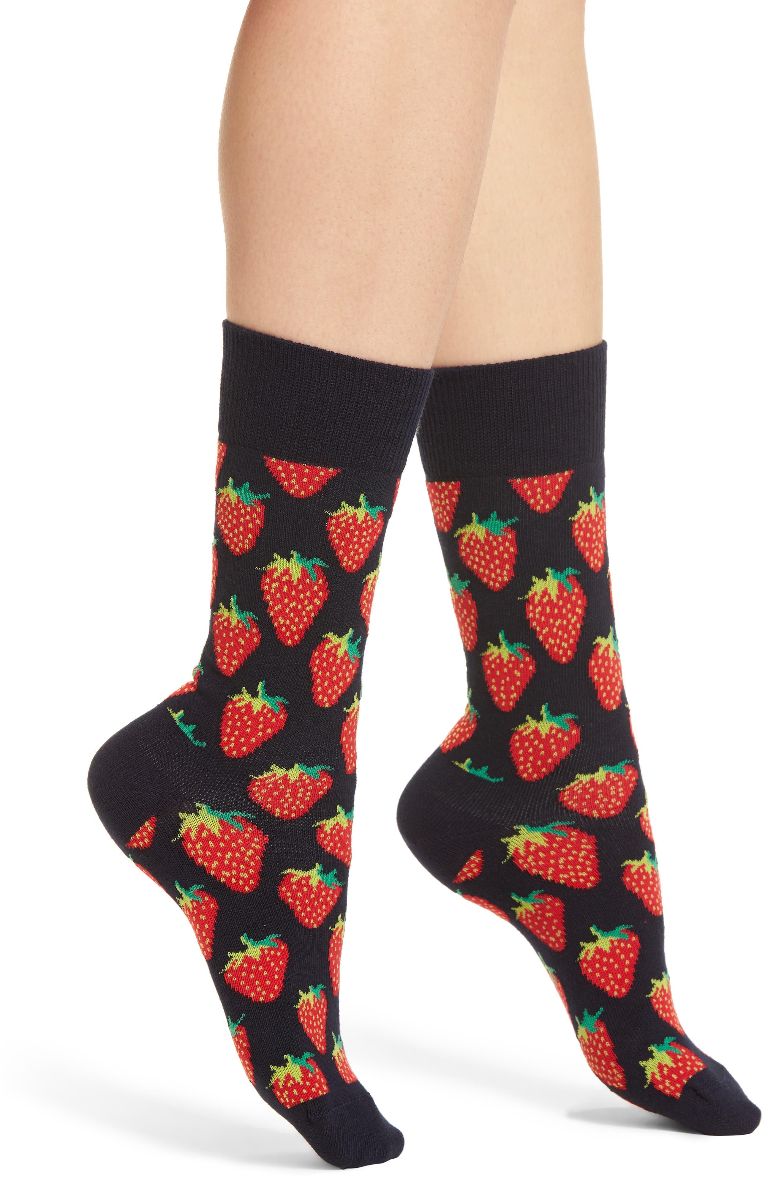 Strawberry Crew Socks,                         Main,                         color, Blue