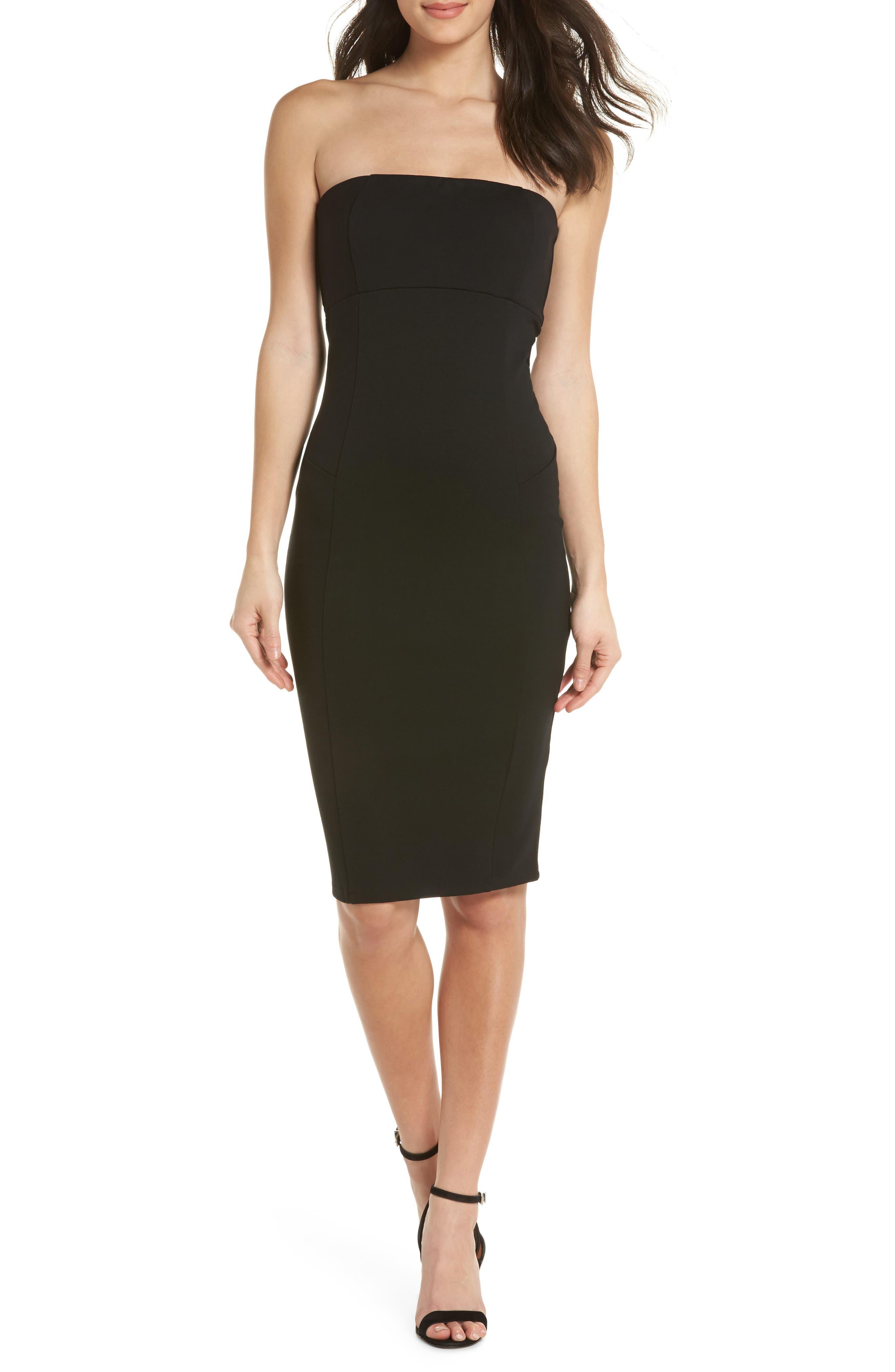 Brianna Strapless Knit Body-Con Dress,                             Main thumbnail 1, color,                             Black