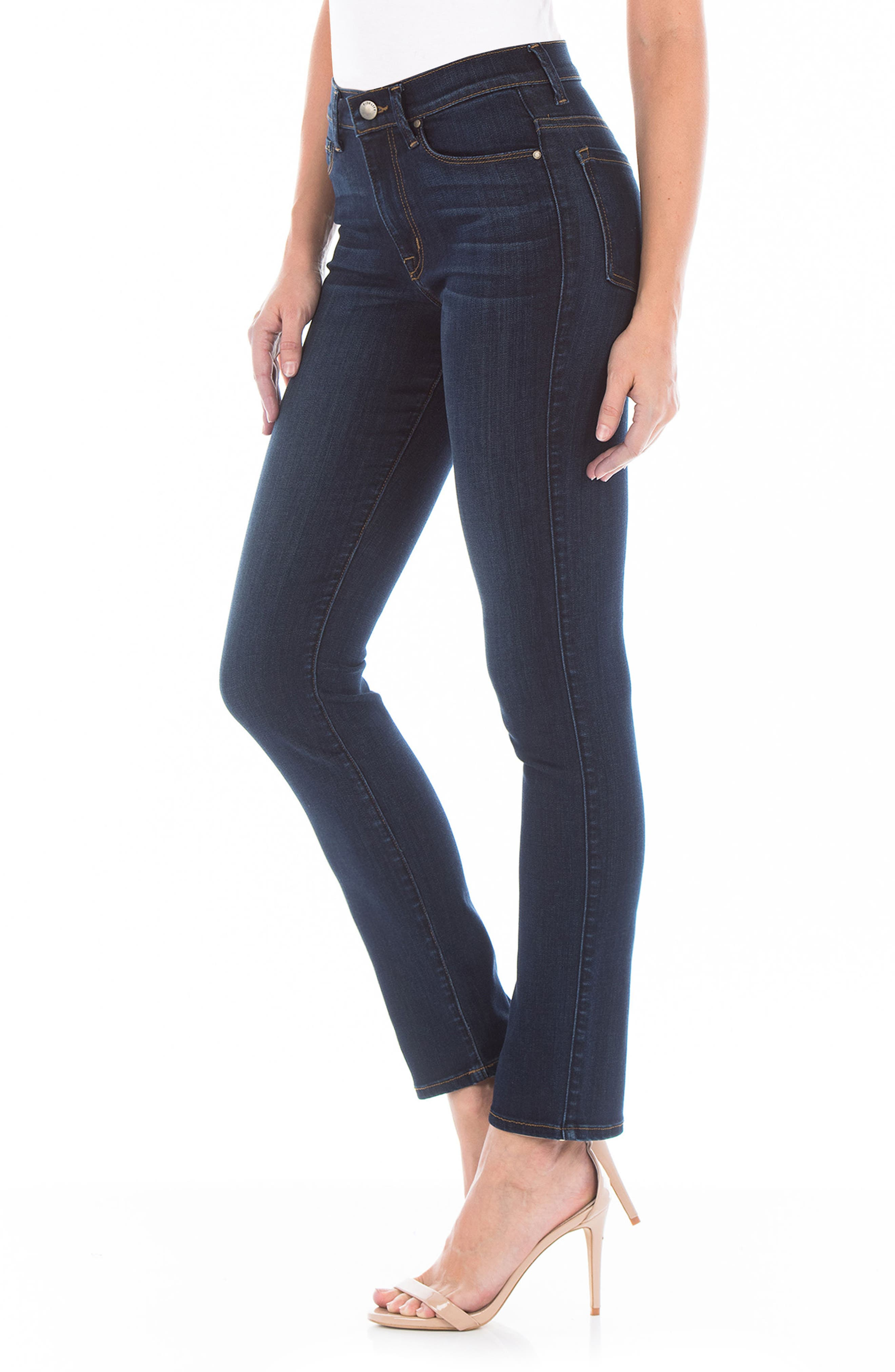 Cher High Waist Slim Jeans,                             Alternate thumbnail 3, color,                             Bali Blue