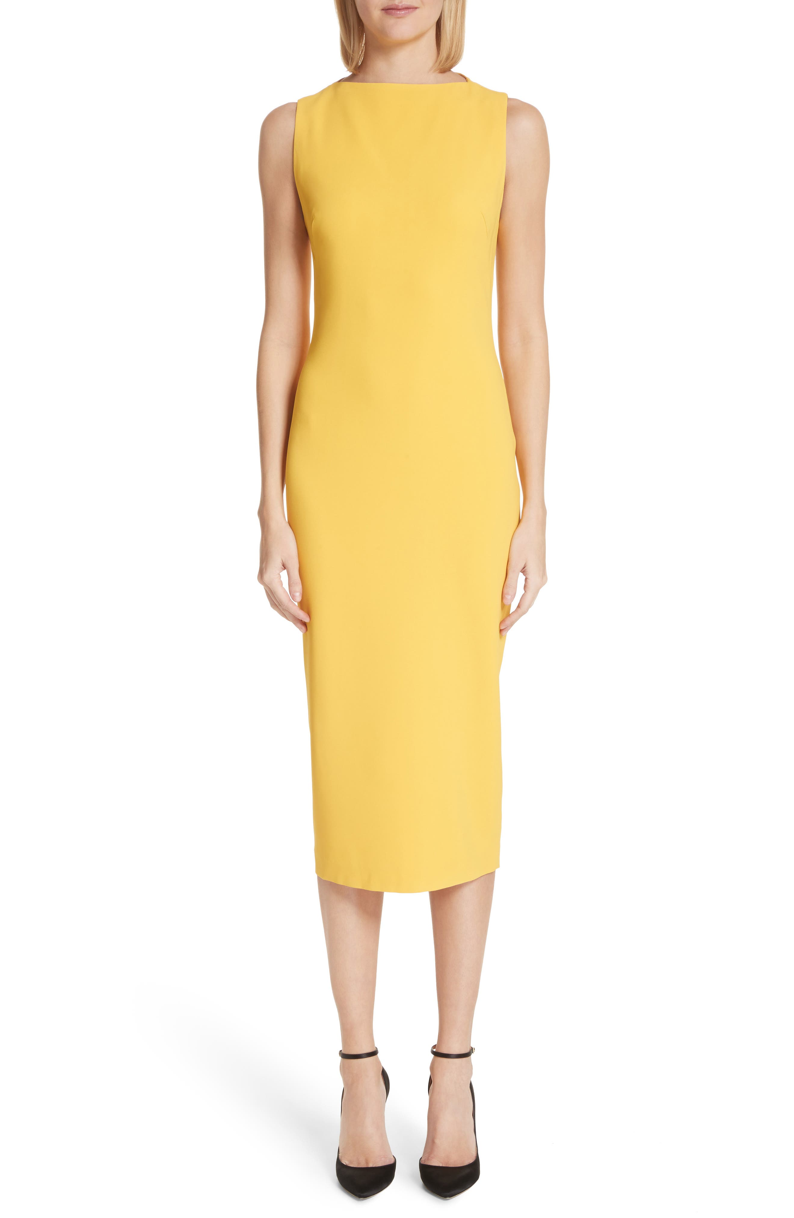 Sheath Midi Dress,                             Main thumbnail 1, color,                             Yellow