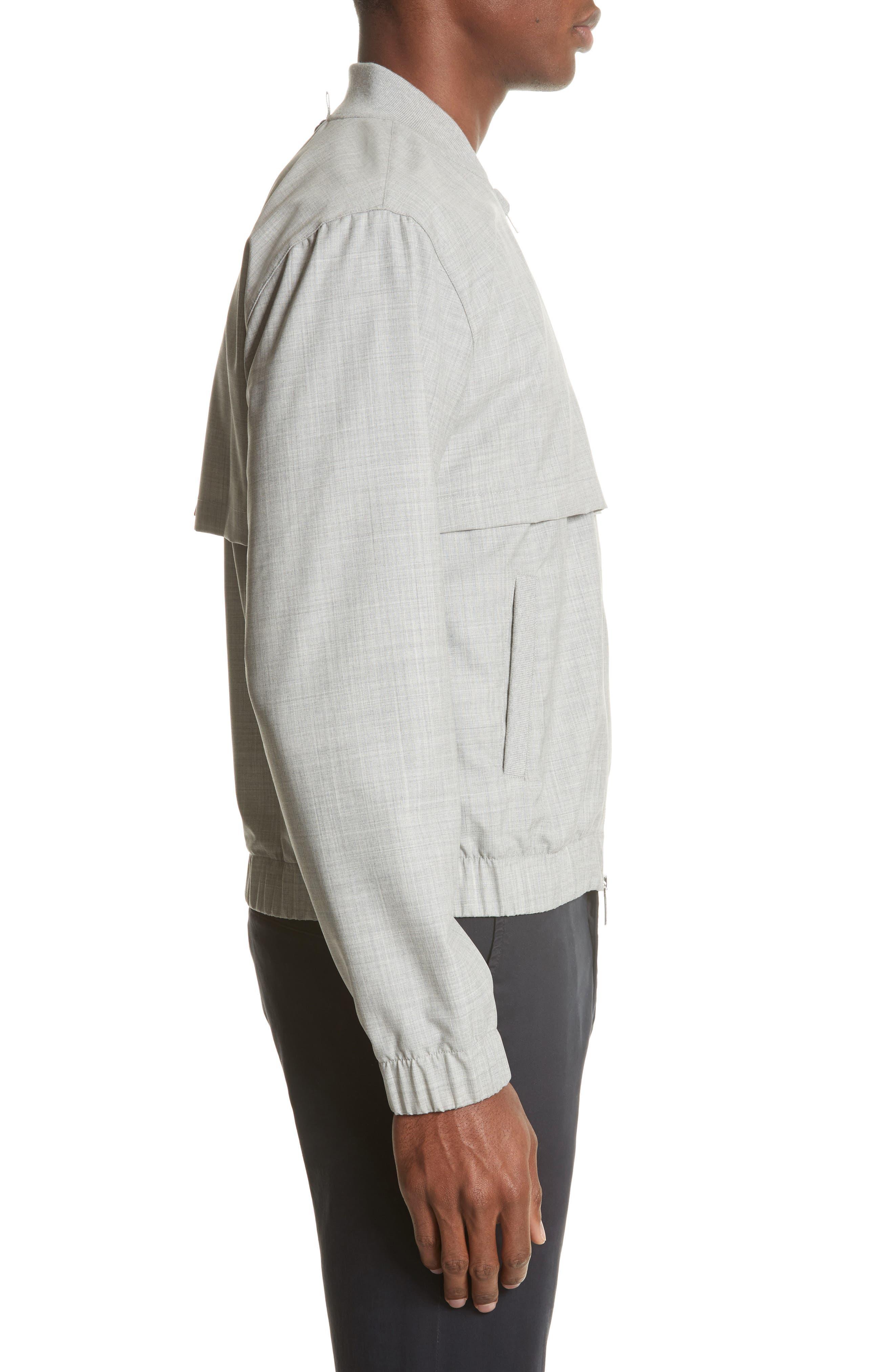 Lightweight Wool Bomber Jacket,                             Alternate thumbnail 3, color,                             Light Grey