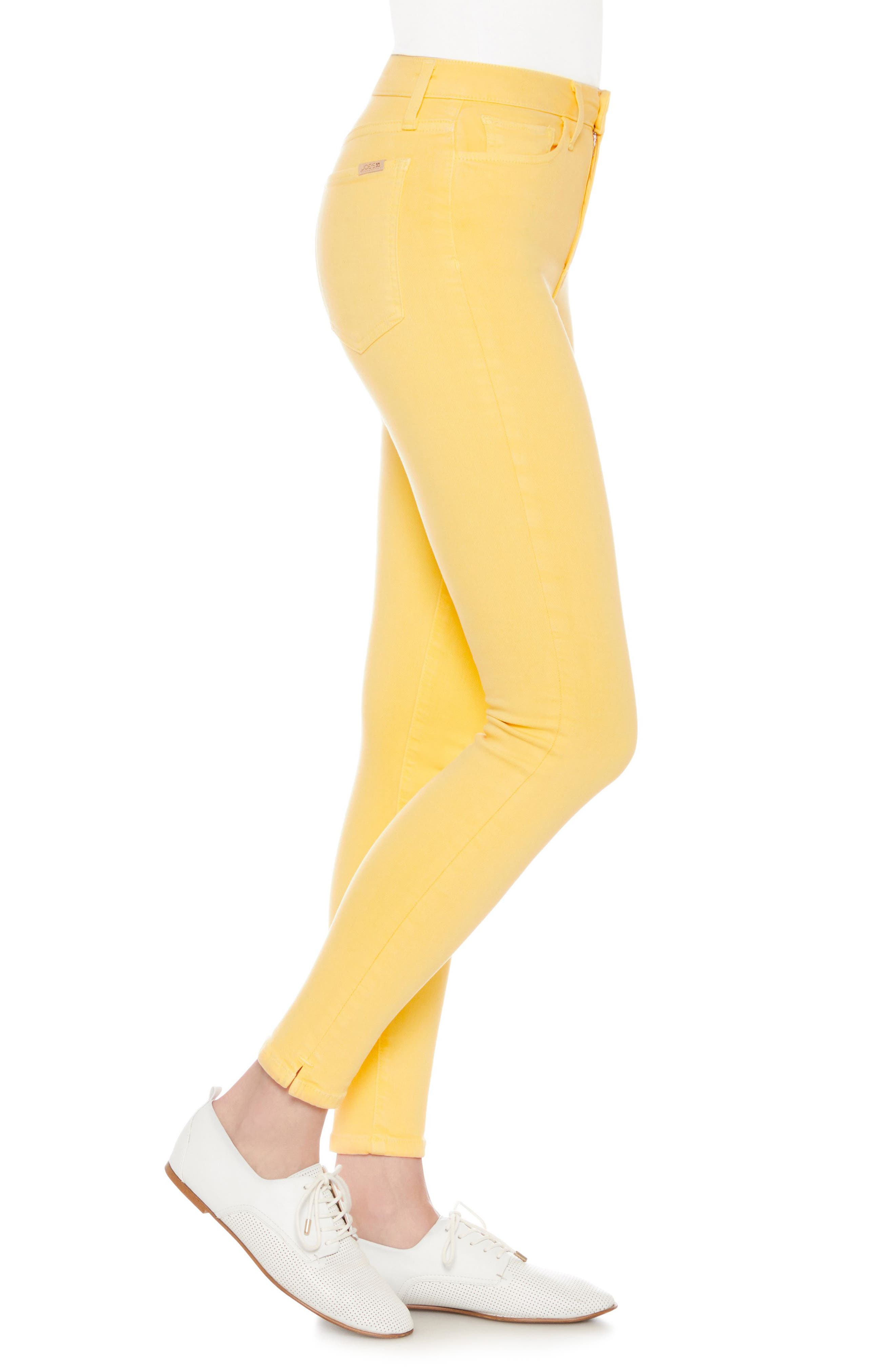 Charlie High Waist Ankle Skinny Jeans,                             Alternate thumbnail 3, color,                             Pale Marigold