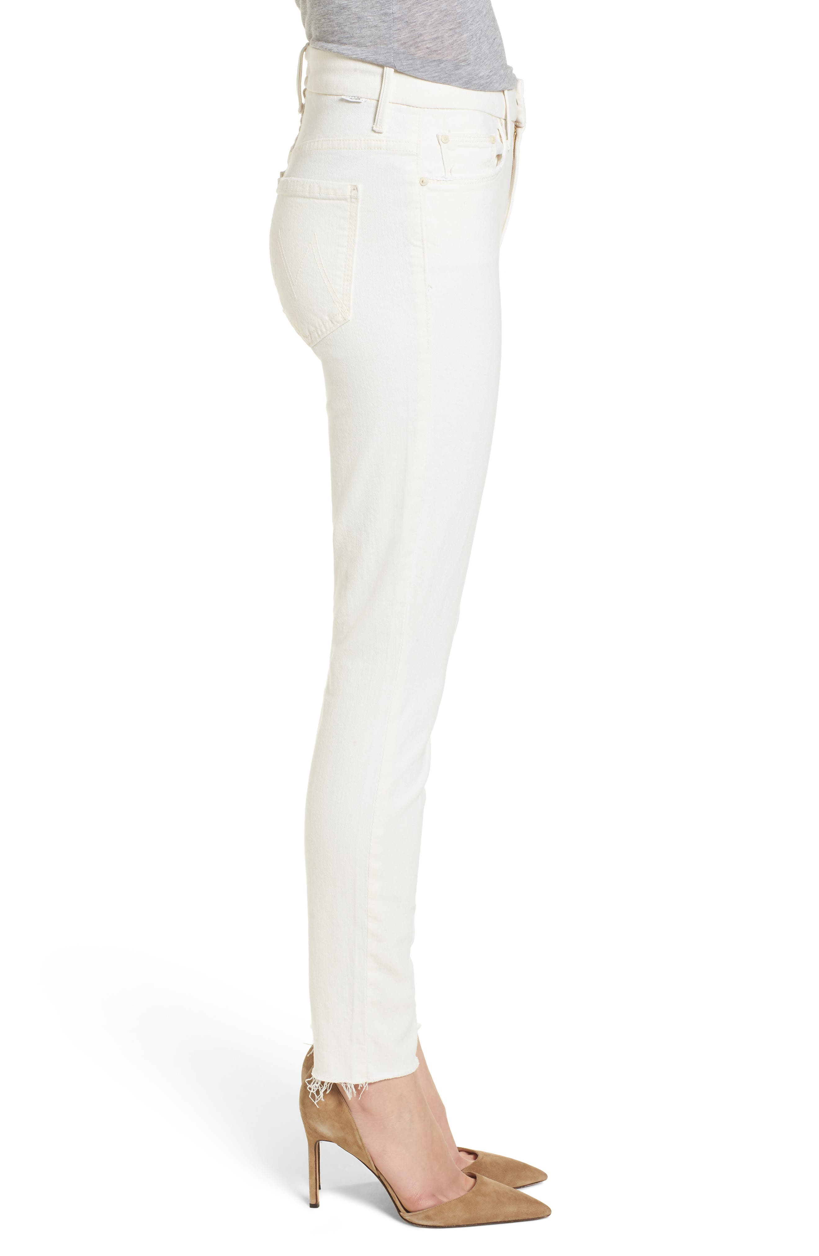 The Looker High Waist Fray Ankle Skinny Jeans,                             Alternate thumbnail 3, color,                             Whipping The Cream