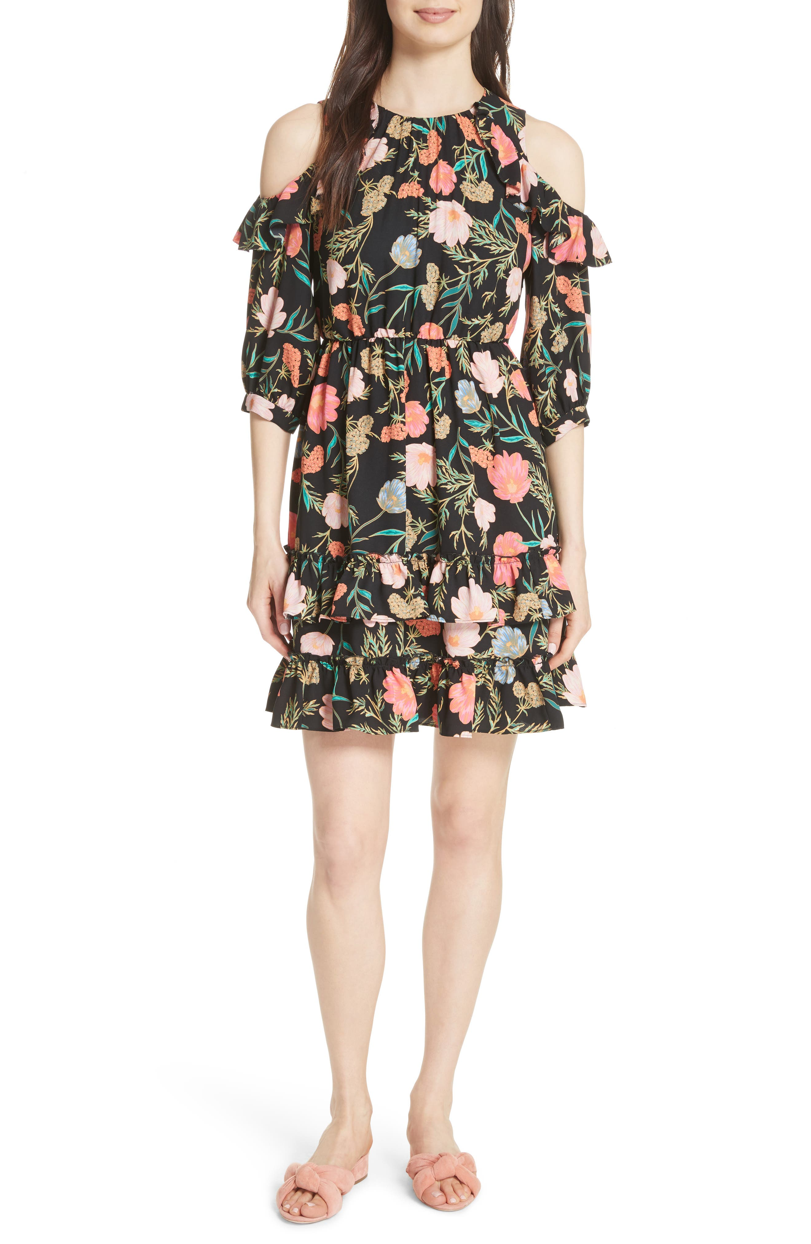 blossom cold shoulder dress,                         Main,                         color, Black