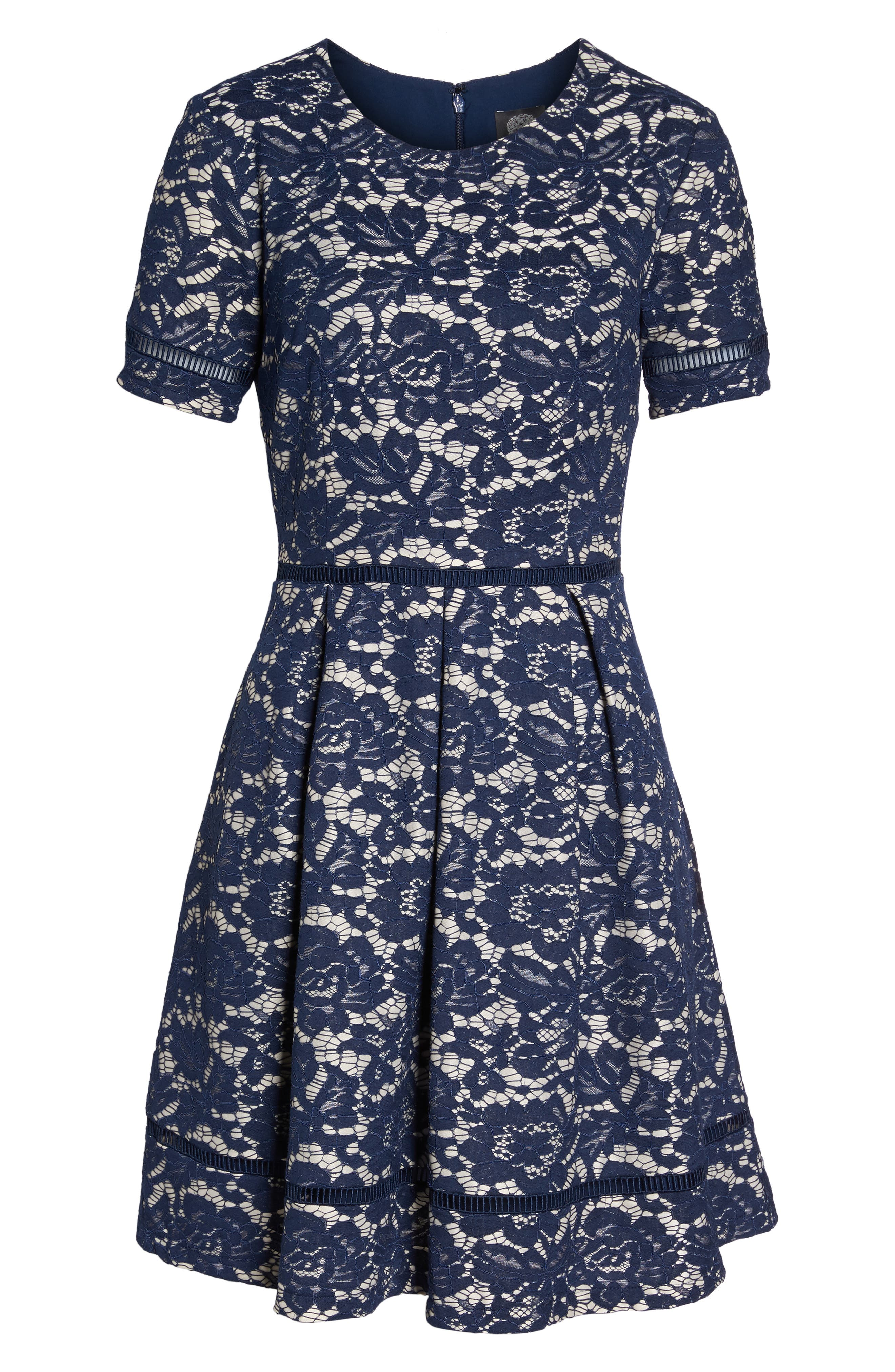 Bonded Lace Fit & Flare Dress,                             Alternate thumbnail 6, color,                             Navy