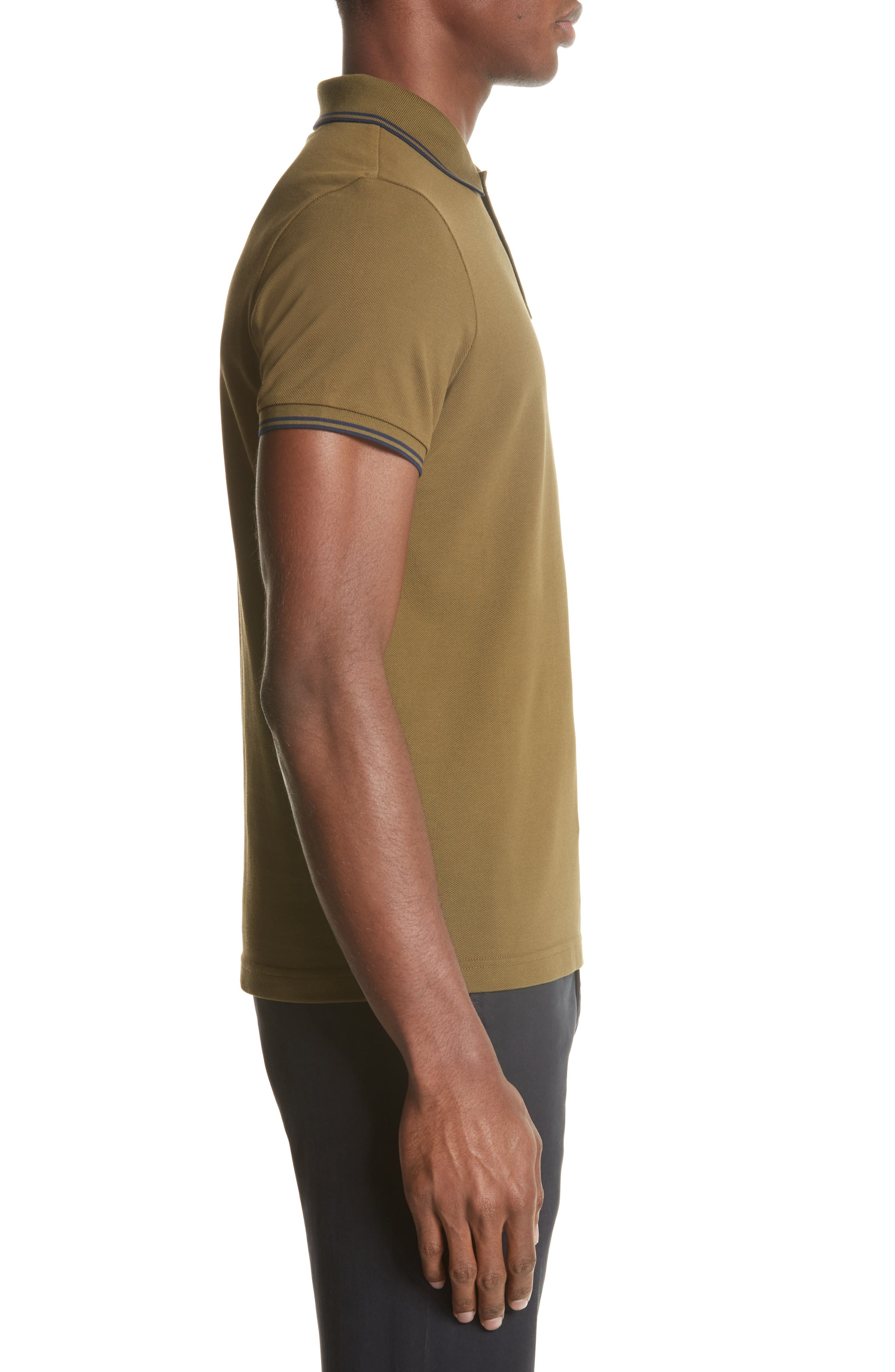 Striped Collar Polo Shirt,                             Alternate thumbnail 3, color,                             Olive