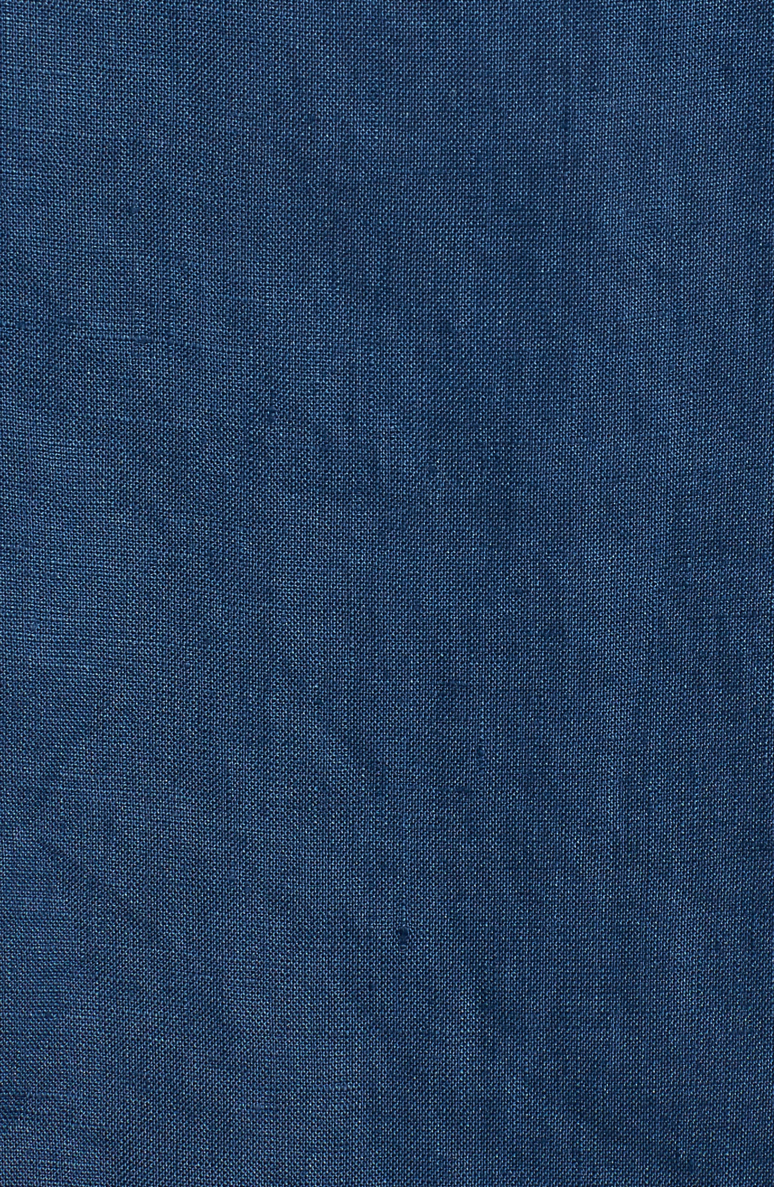 Woven Organic Linen Top,                             Alternate thumbnail 6, color,                             Denim