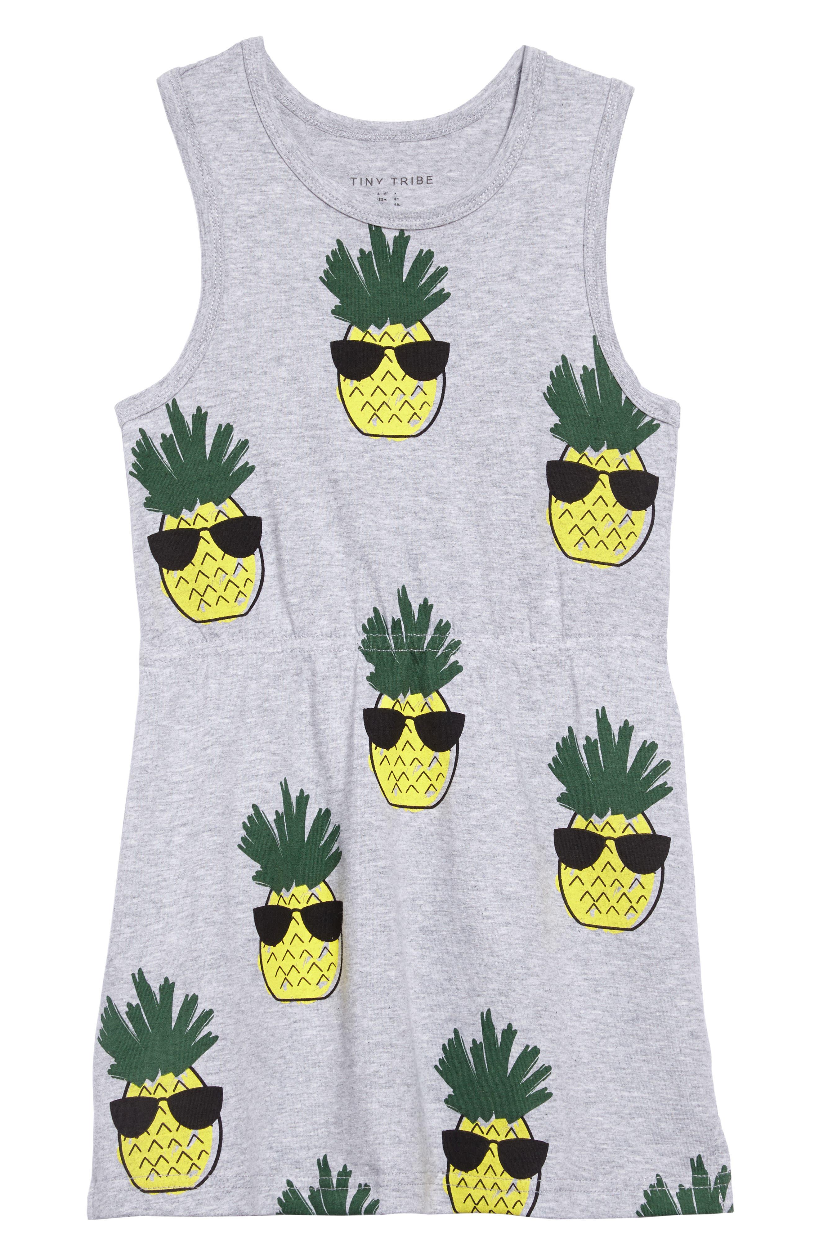 Cool Pineapple Racerback Dress,                         Main,                         color, Grey