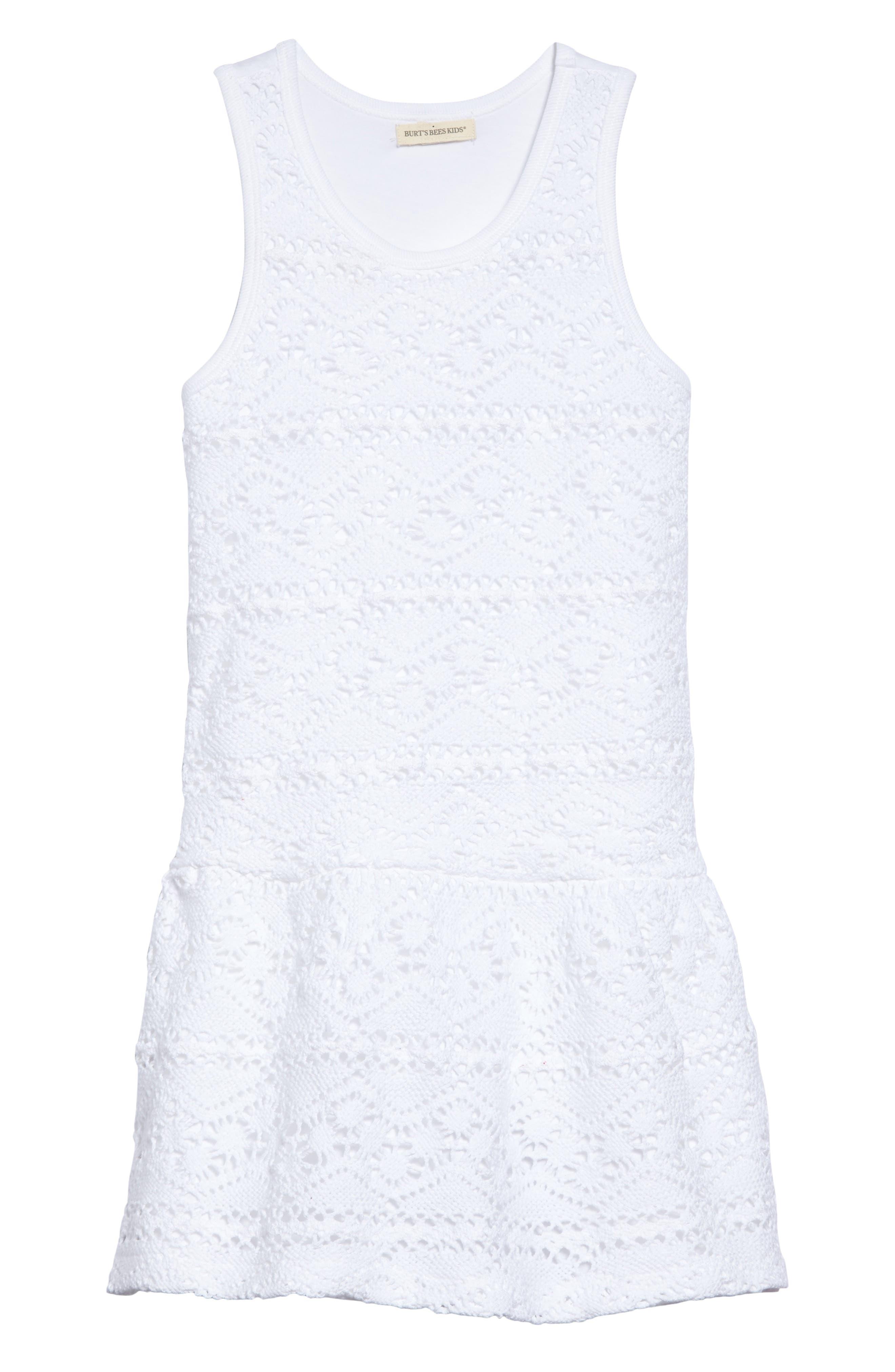 Crochet Organic Cotton Dress,                             Main thumbnail 1, color,                             Cloud