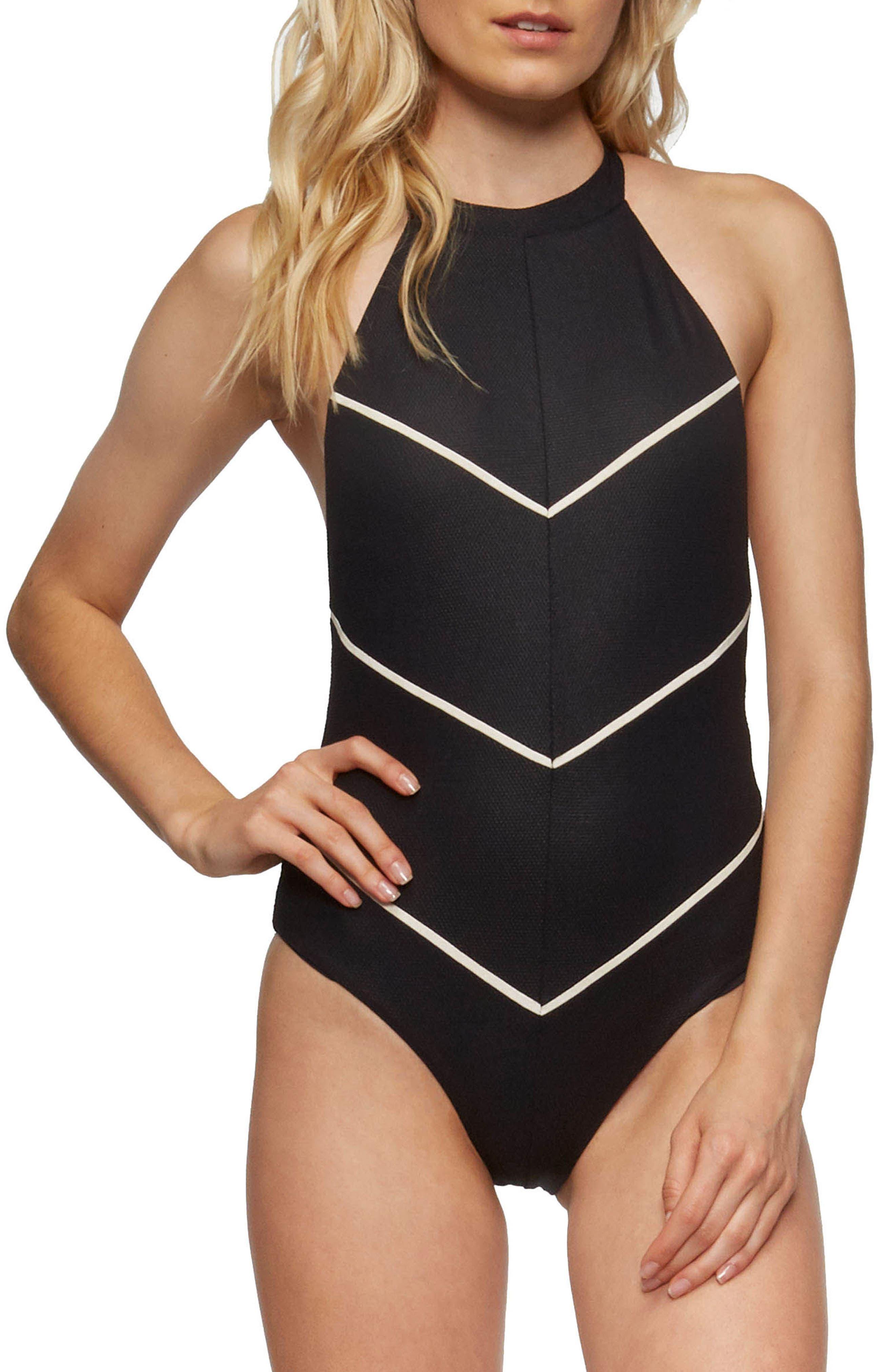 Hannah One-Piece Swimsuit,                         Main,                         color, Black